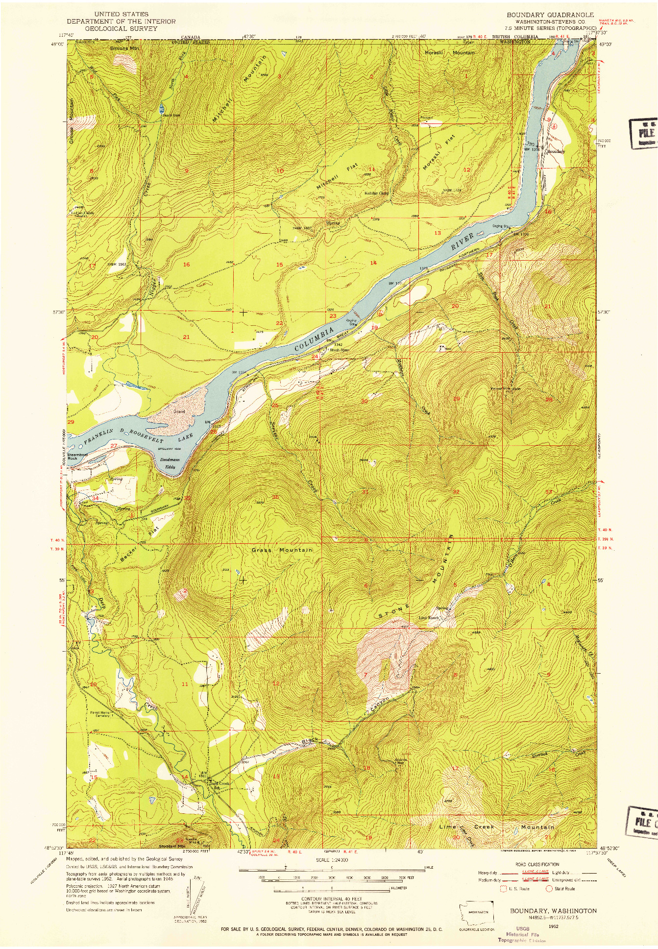 USGS 1:24000-SCALE QUADRANGLE FOR BOUNDARY, WA 1952
