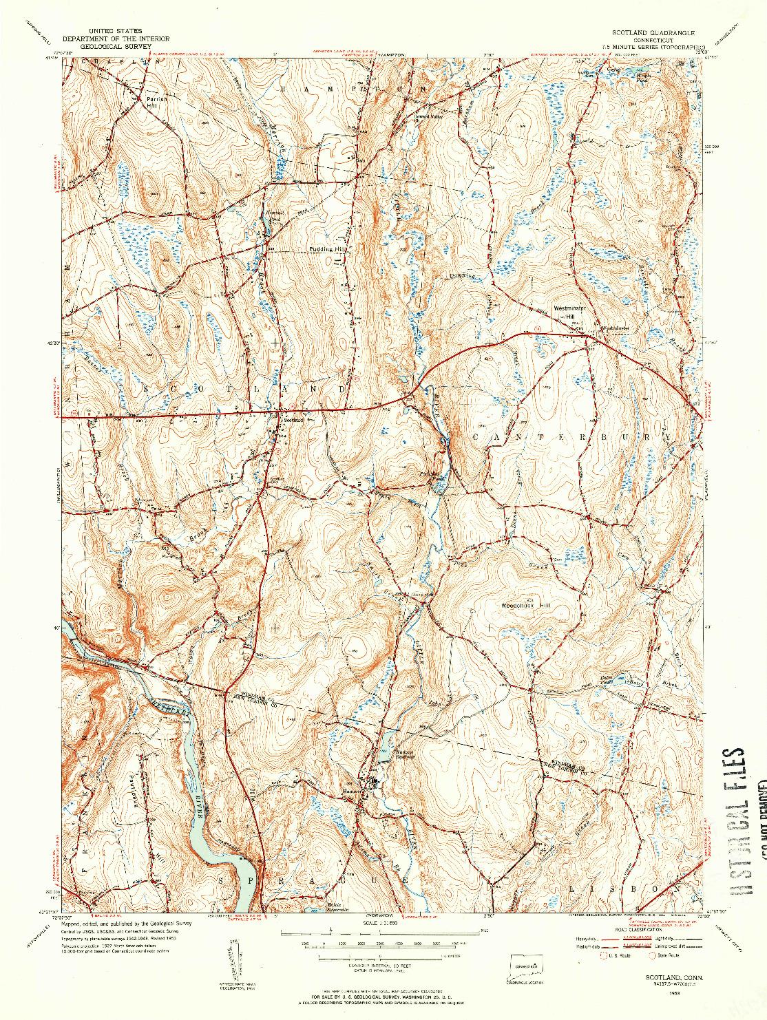 USGS 1:31680-SCALE QUADRANGLE FOR SCOTLAND, CT 1953