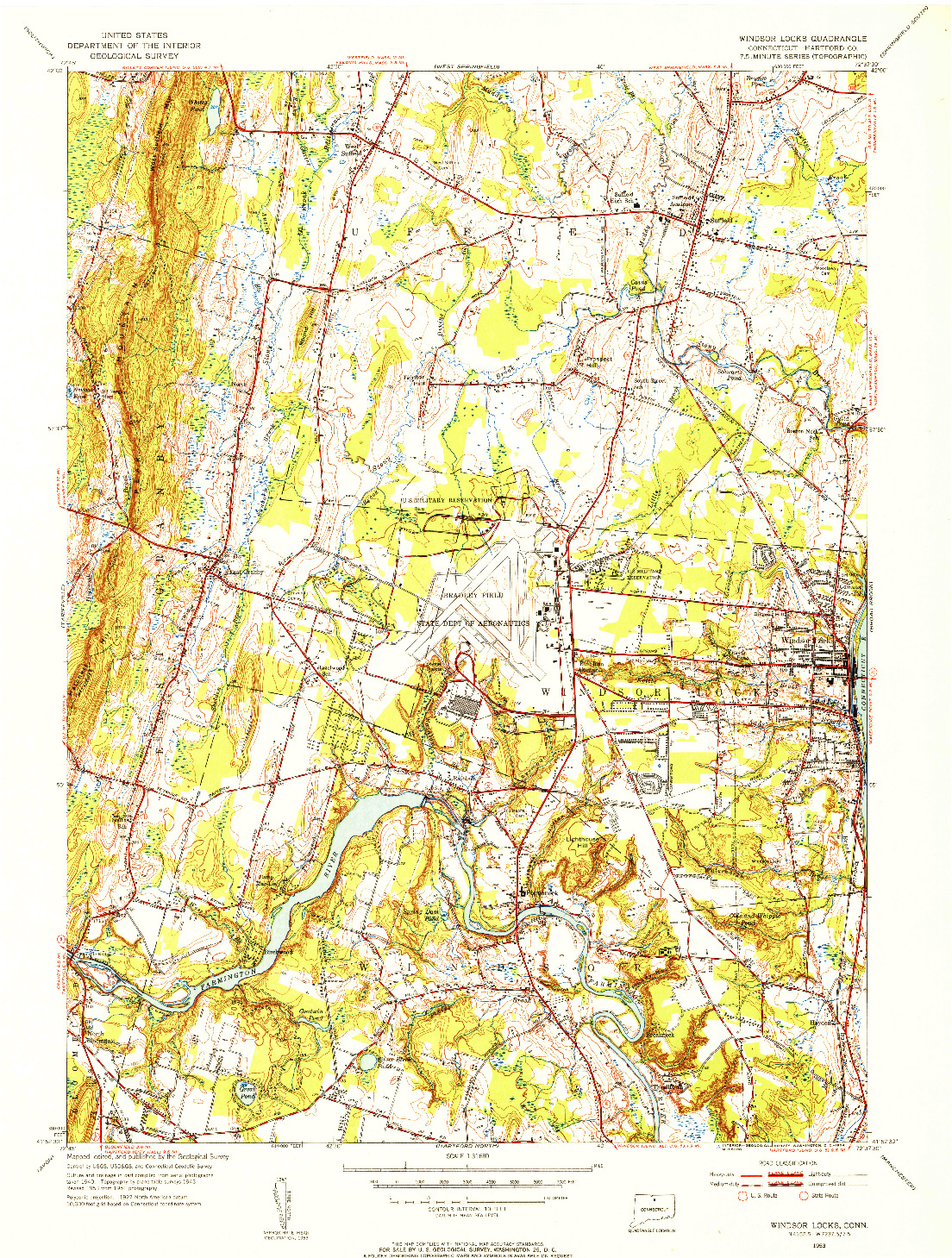 USGS 1:31680-SCALE QUADRANGLE FOR WINDSOR LOCKS, CT 1953