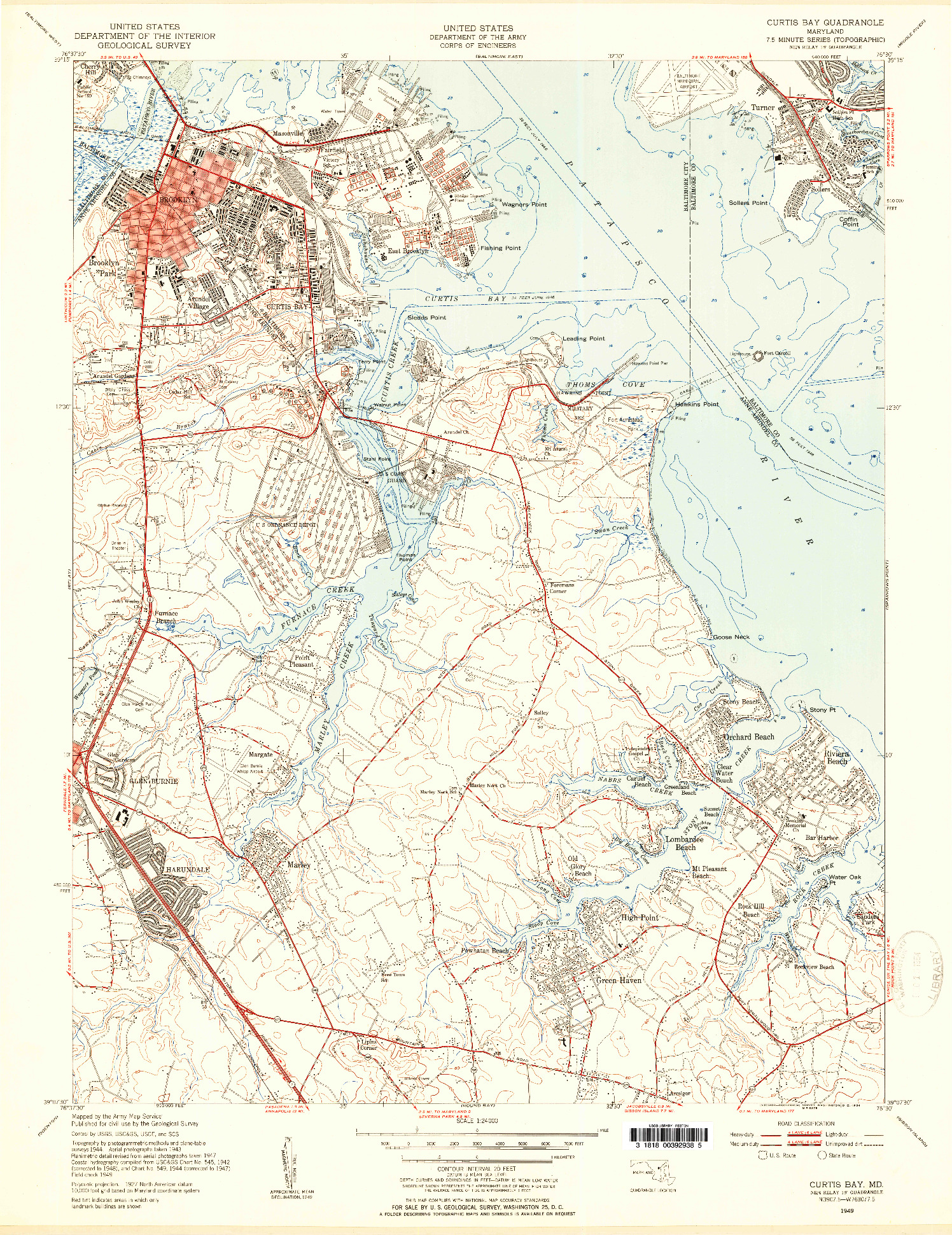 USGS 1:24000-SCALE QUADRANGLE FOR CURTIS BAY, MD 1949