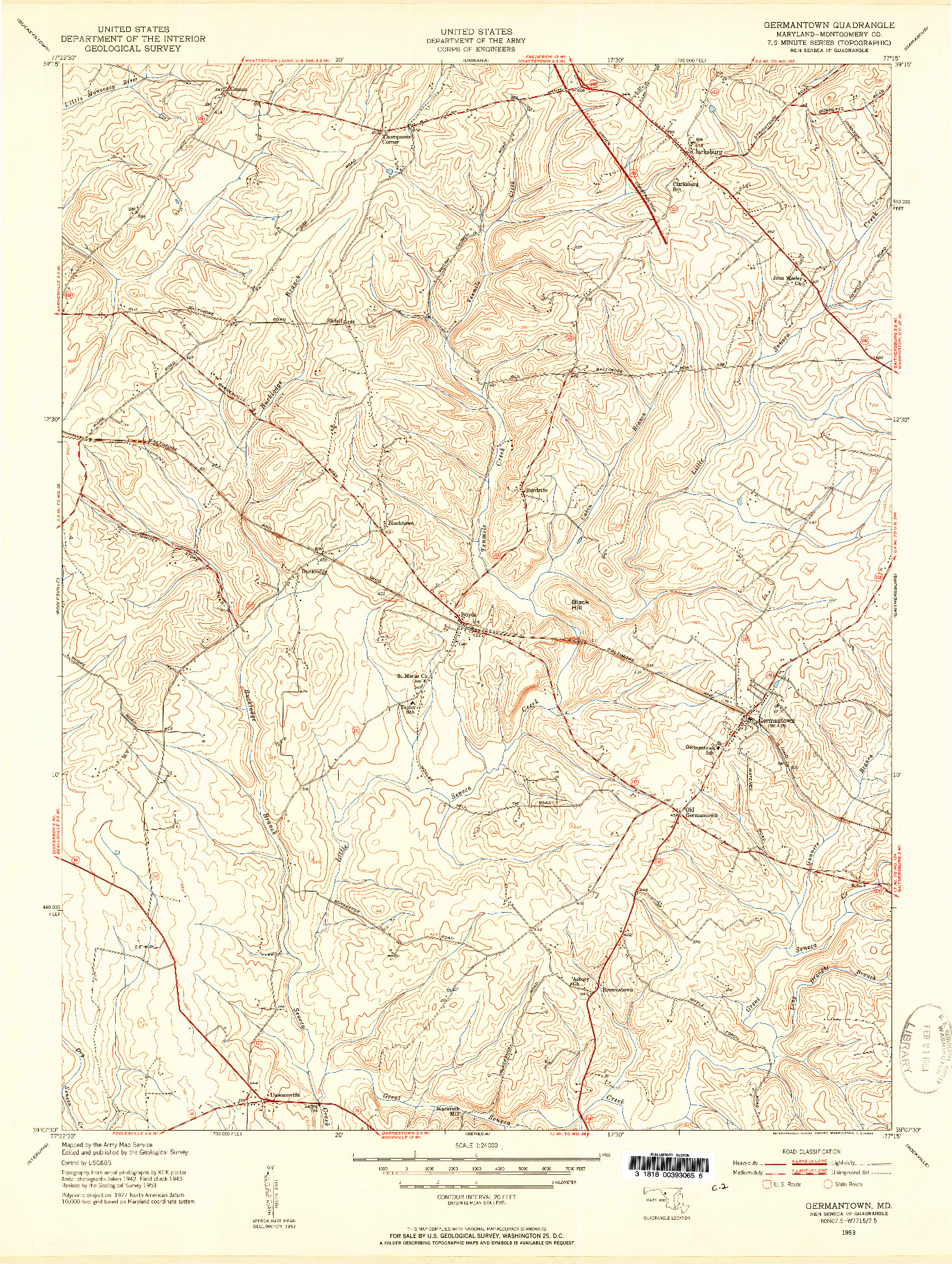 USGS 1:24000-SCALE QUADRANGLE FOR GERMANTOWN, MD 1953