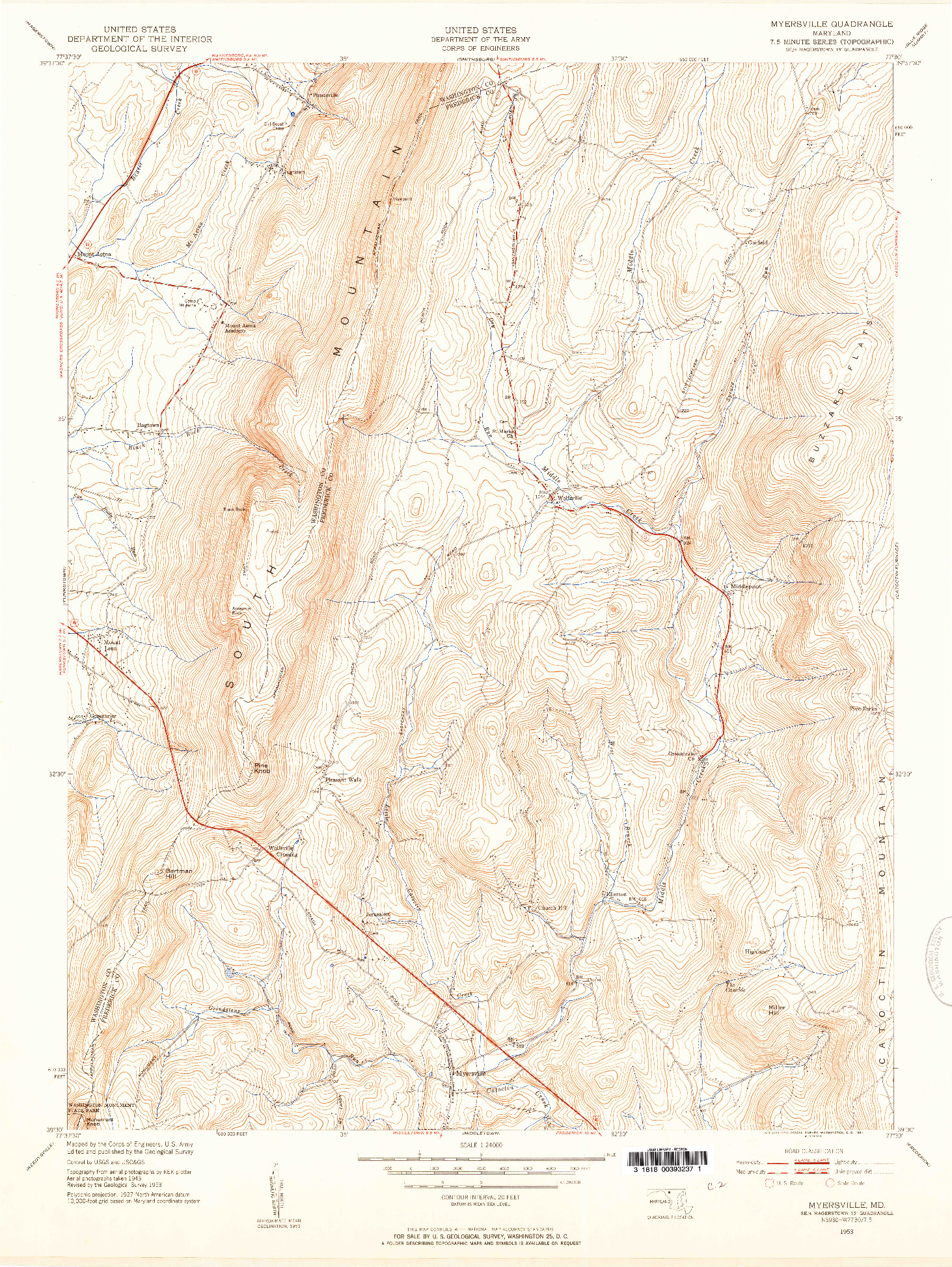 USGS 1:24000-SCALE QUADRANGLE FOR MYERSVILLE, MD 1953