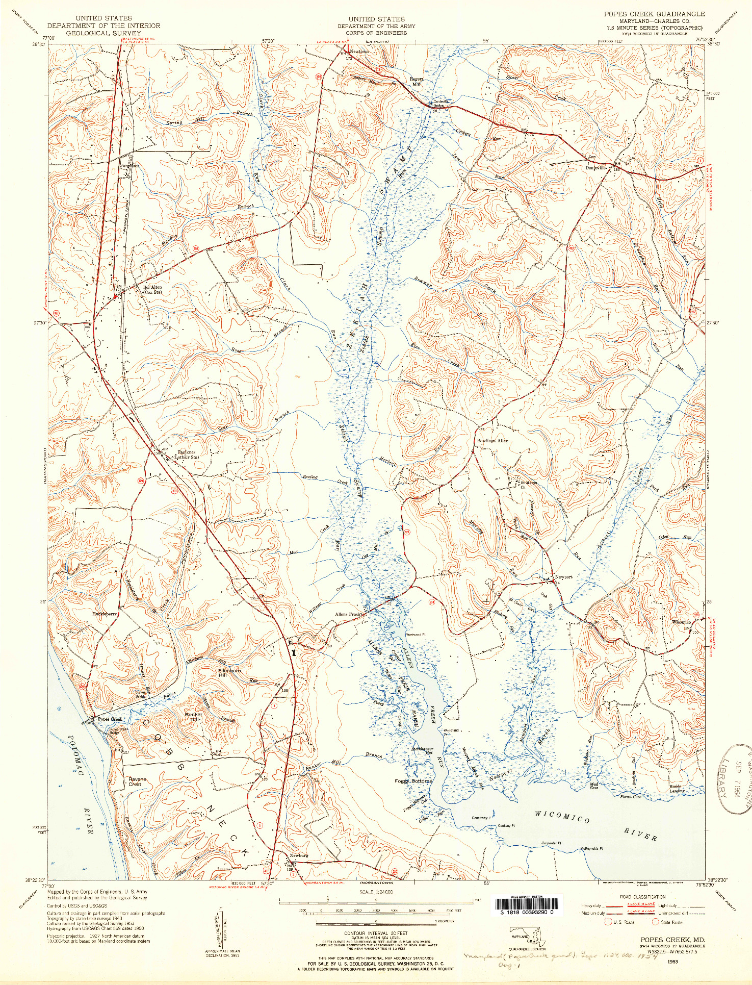 USGS 1:24000-SCALE QUADRANGLE FOR POPES CREEK, MD 1953