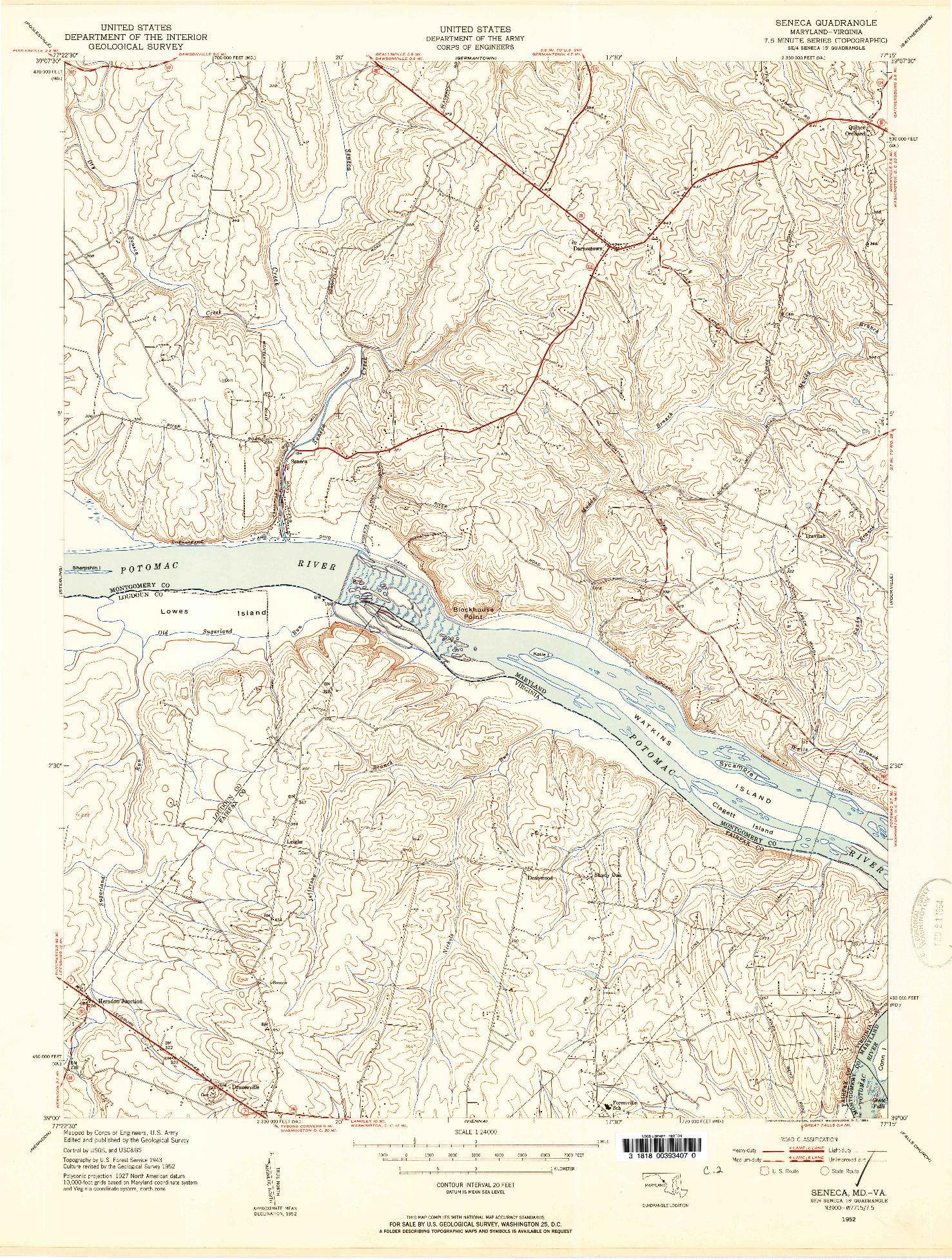 USGS 1:24000-SCALE QUADRANGLE FOR SENECA, MD 1952