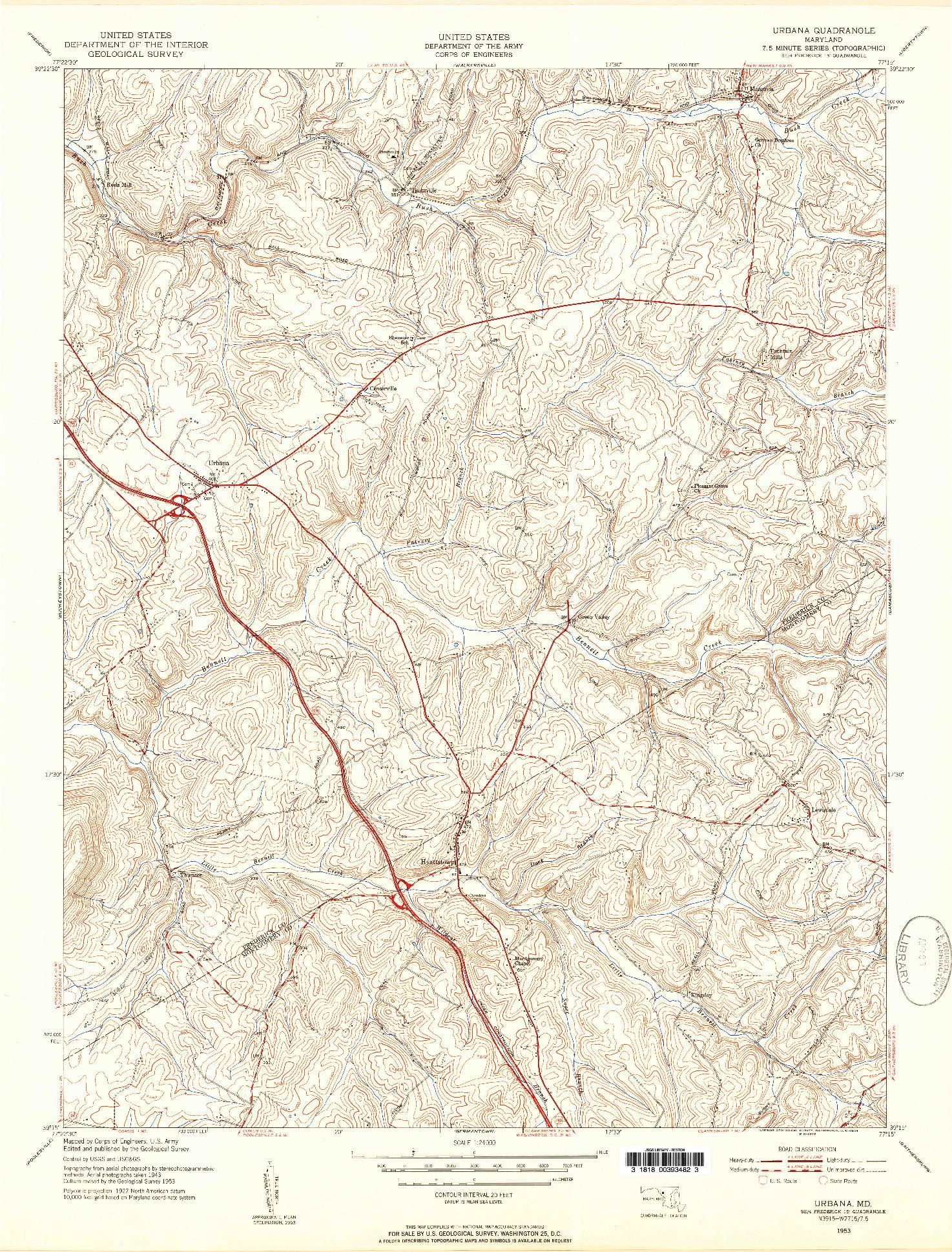 USGS 1:24000-SCALE QUADRANGLE FOR URBANA, MD 1953