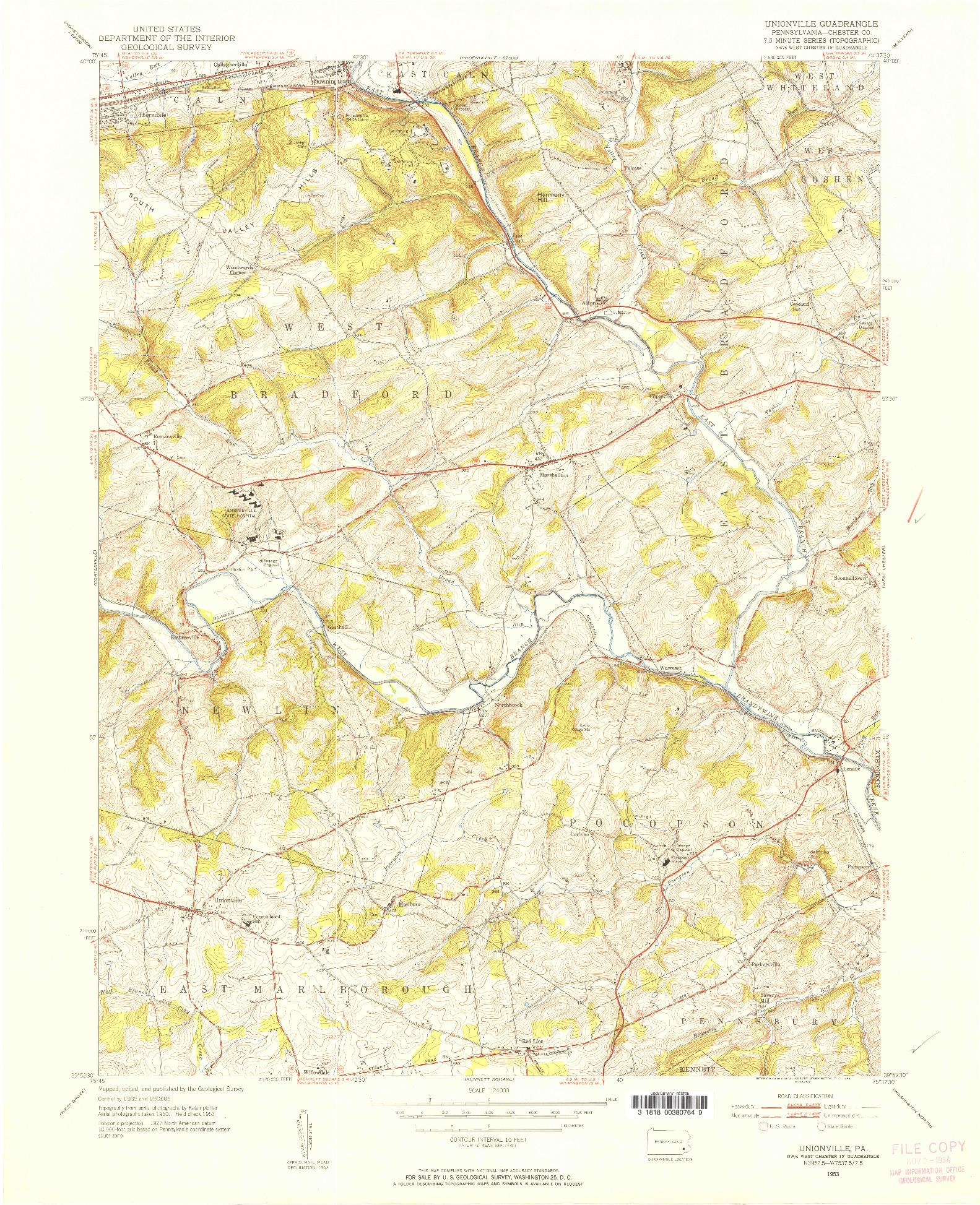 USGS 1:24000-SCALE QUADRANGLE FOR UNIONVILLE, PA 1953