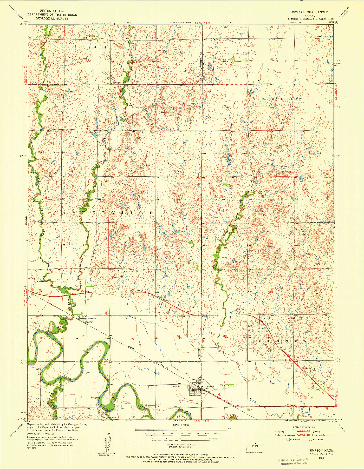 USGS 1:24000-SCALE QUADRANGLE FOR SIMPSON, KS 1953