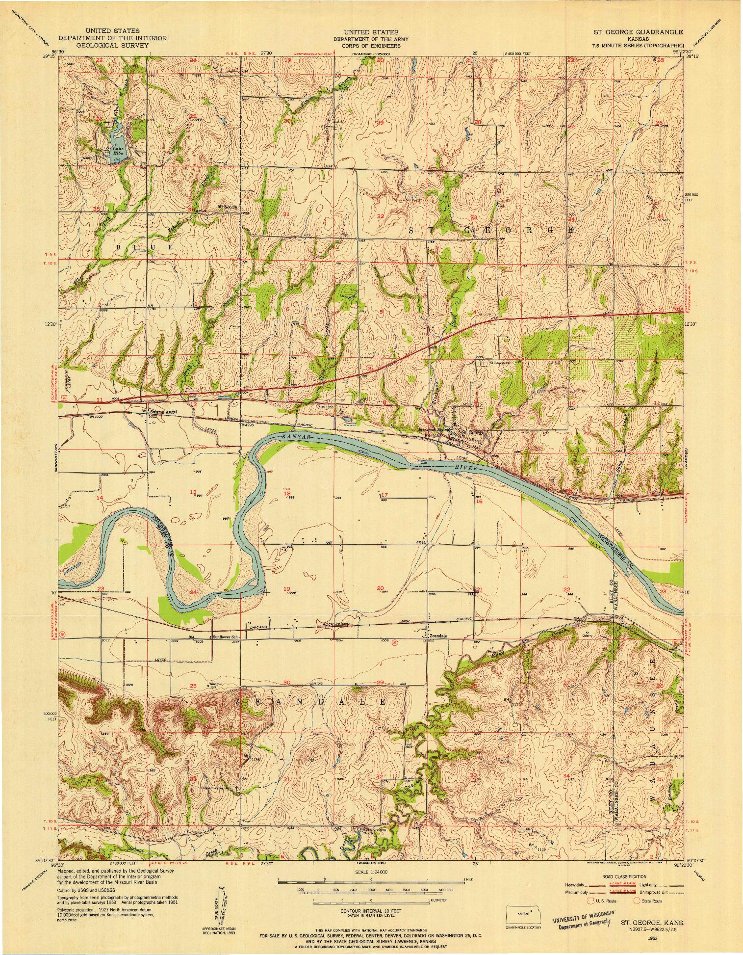 USGS 1:24000-SCALE QUADRANGLE FOR ST GEORGE, KS 1953