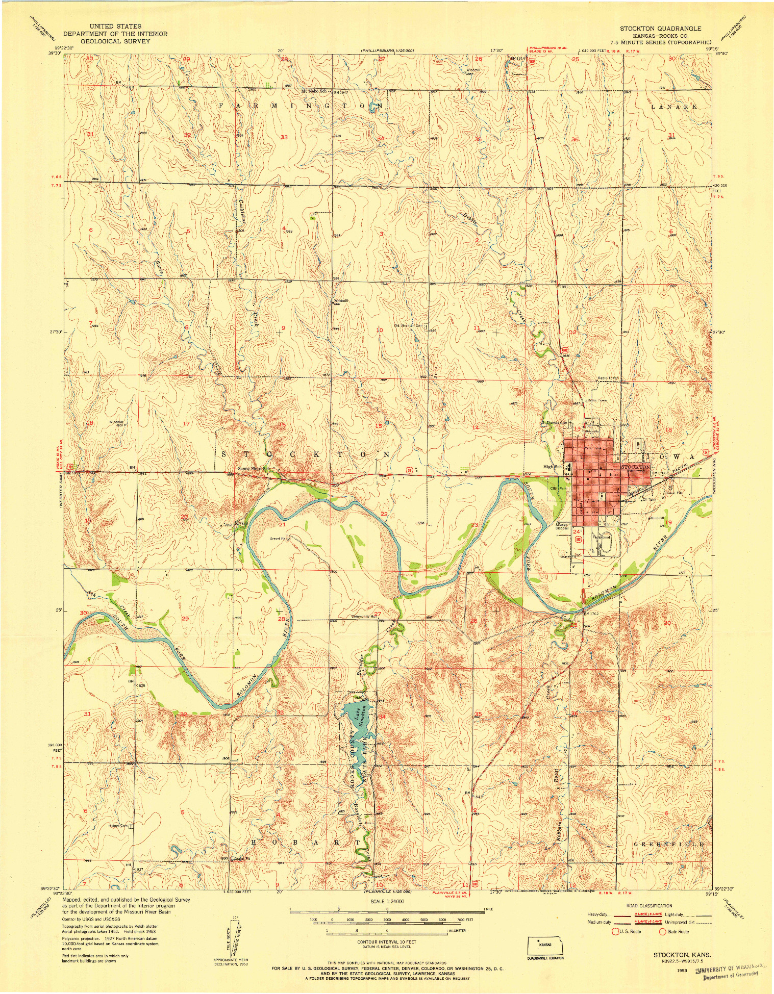 USGS 1:24000-SCALE QUADRANGLE FOR STOCKTON, KS 1953