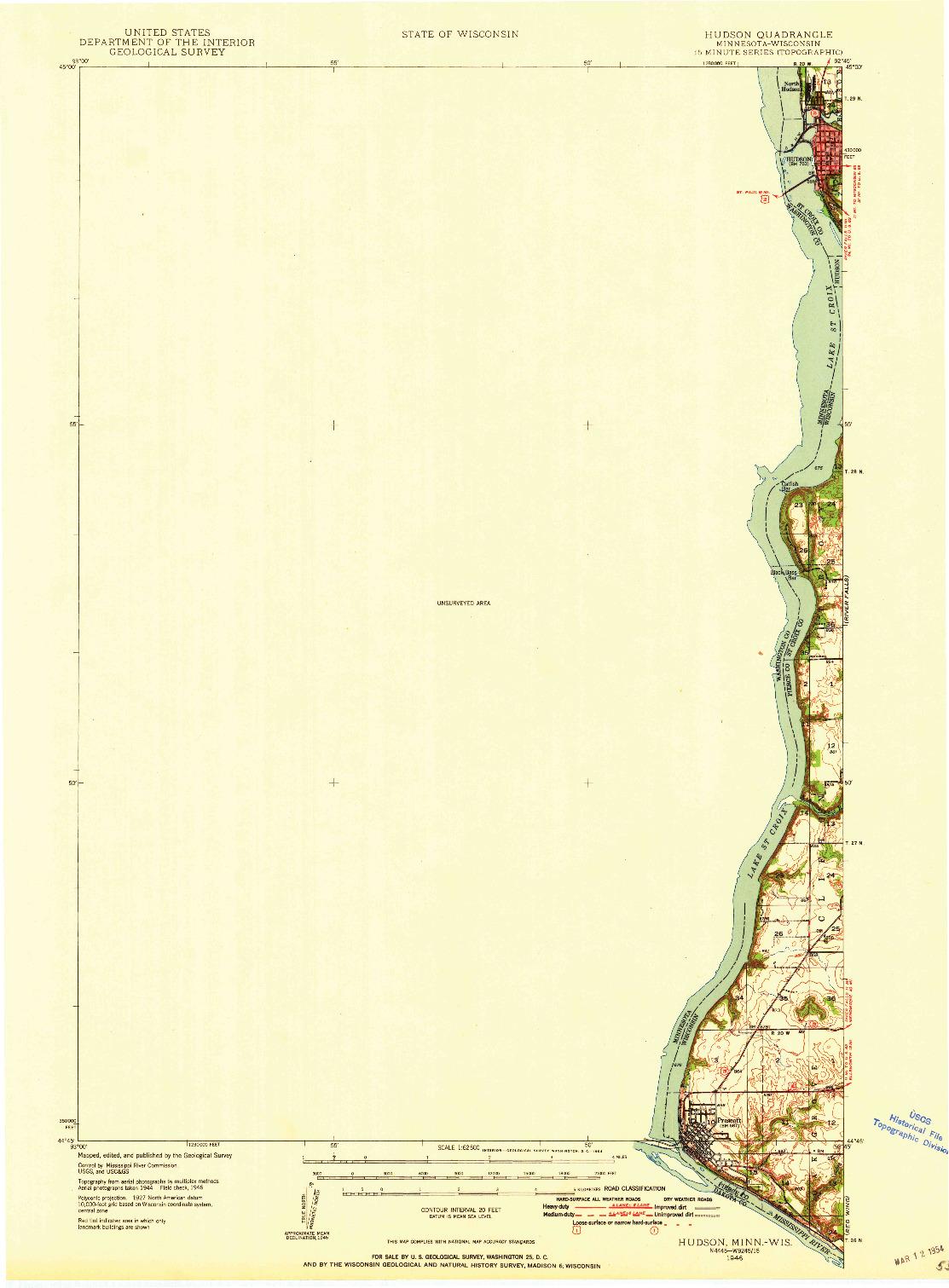 USGS 1:62500-SCALE QUADRANGLE FOR HUDSON, MN 1946