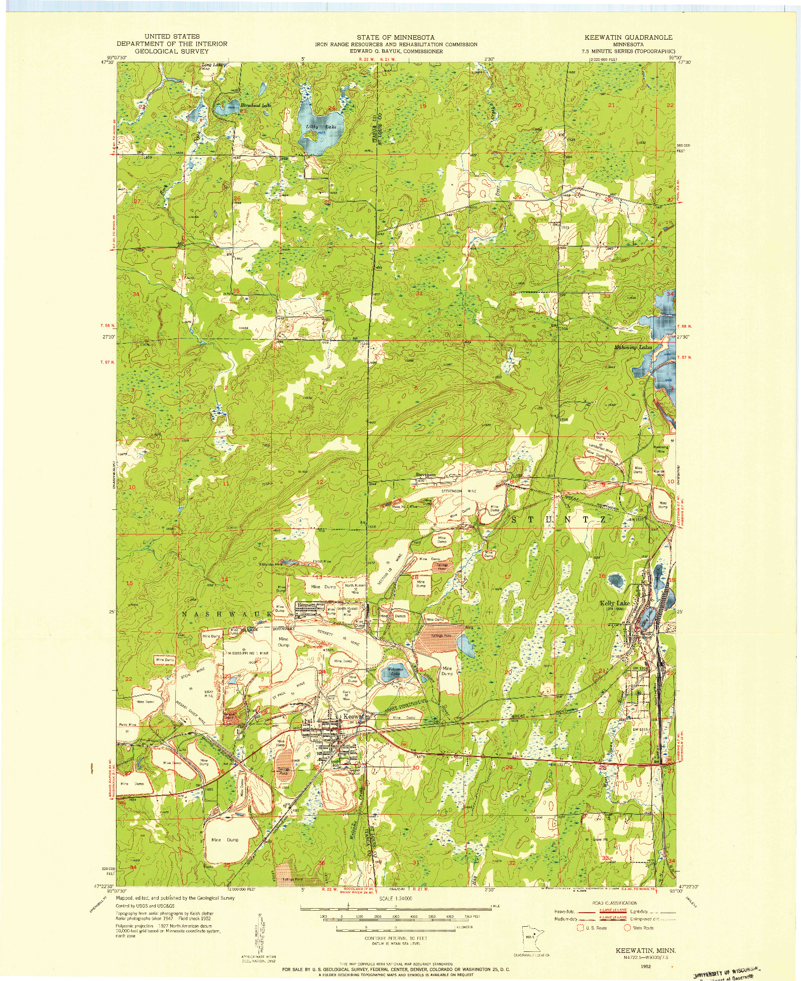 USGS 1:24000-SCALE QUADRANGLE FOR KEEWATIN, MN 1952