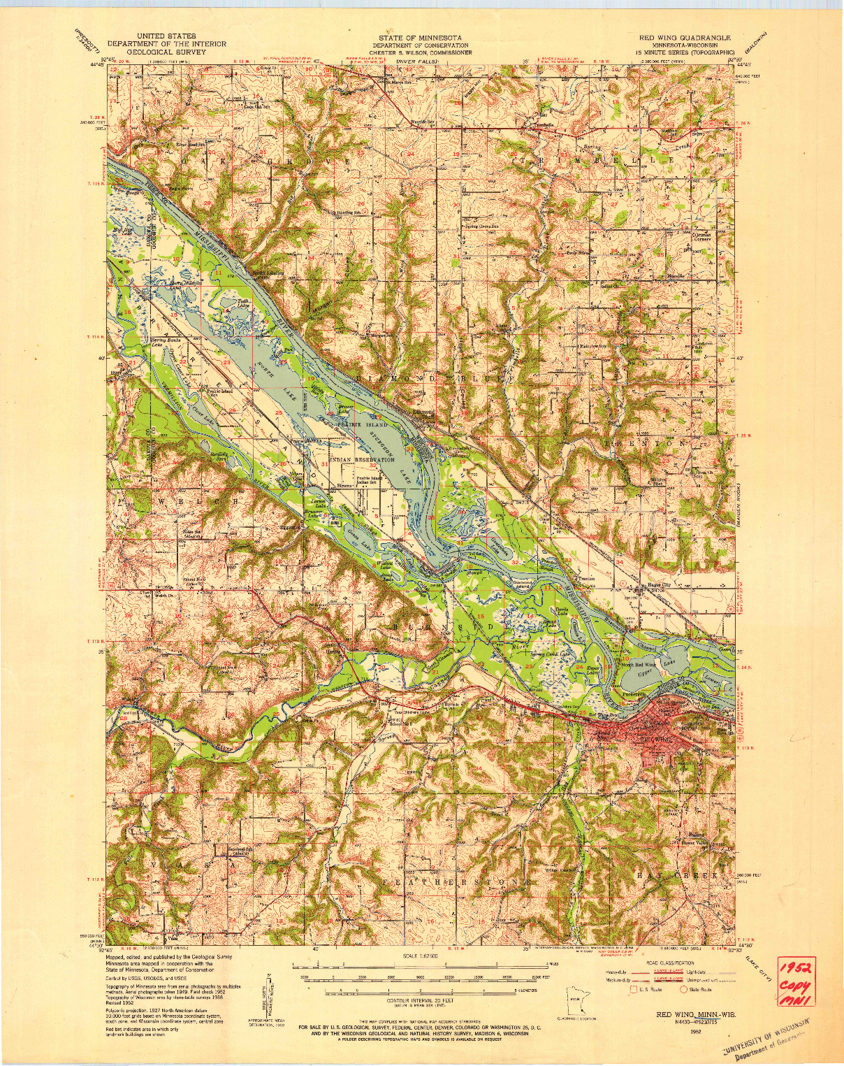 USGS 1:62500-SCALE QUADRANGLE FOR RED WING, MN 1952
