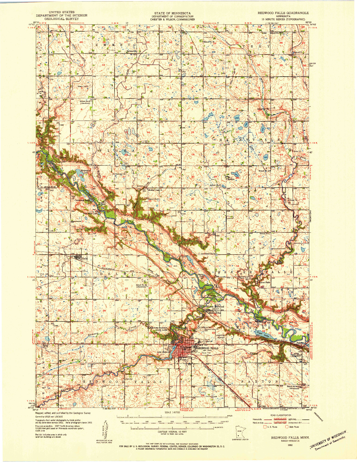 USGS 1:62500-SCALE QUADRANGLE FOR REDWOOD FALLS, MN 1952