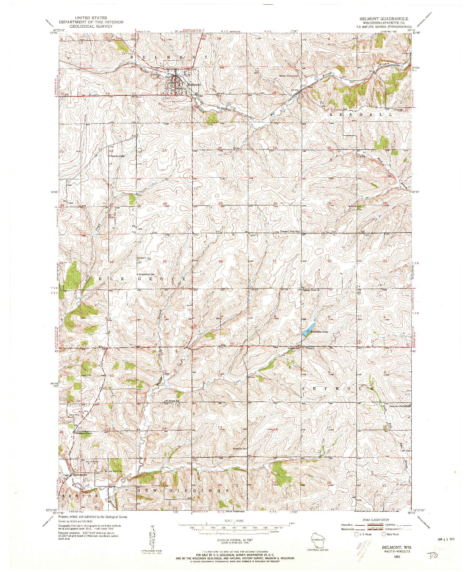 USGS 1:24000-SCALE QUADRANGLE FOR BELMONT, WI 1952