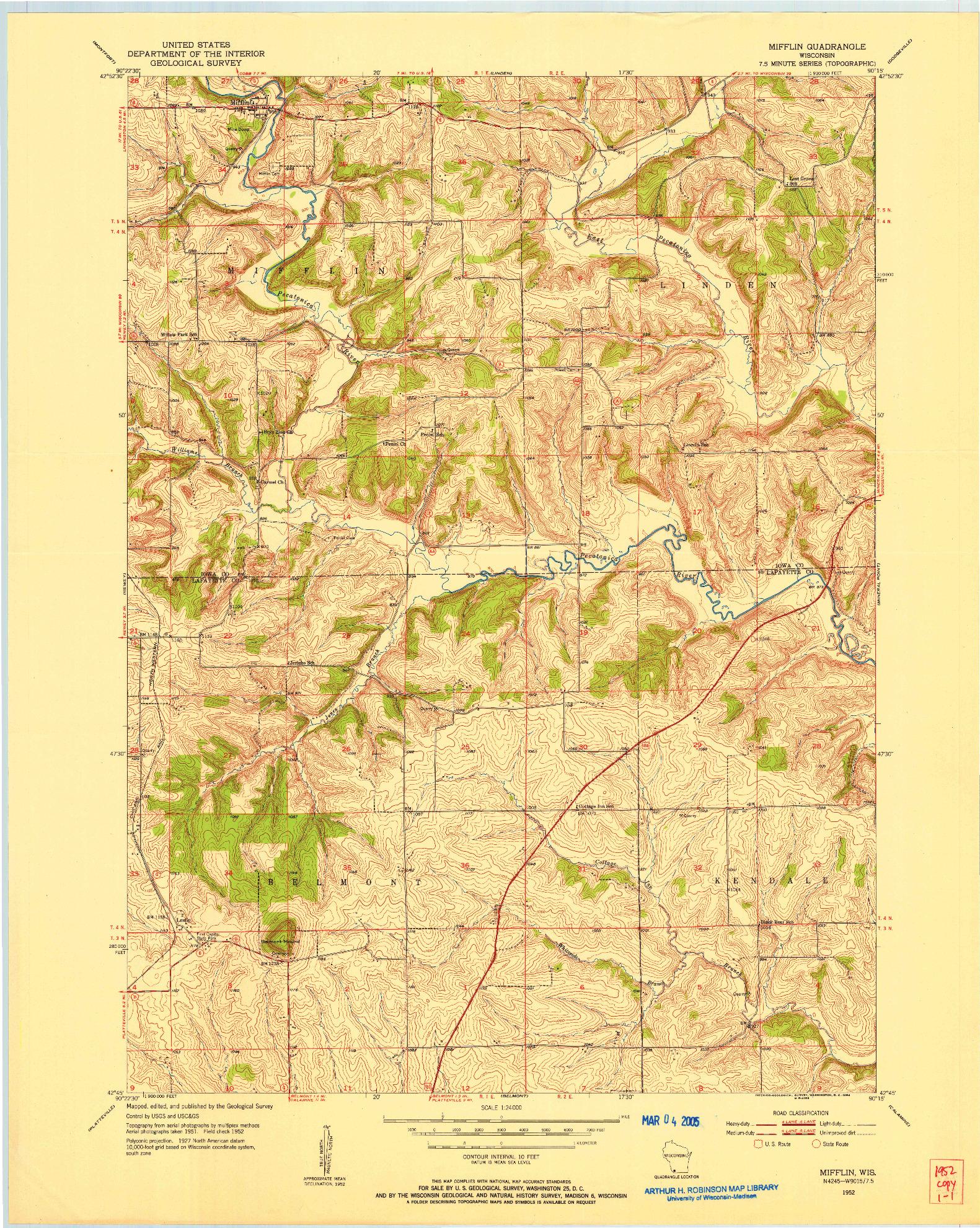 USGS 1:24000-SCALE QUADRANGLE FOR MIFFLIN, WI 1952