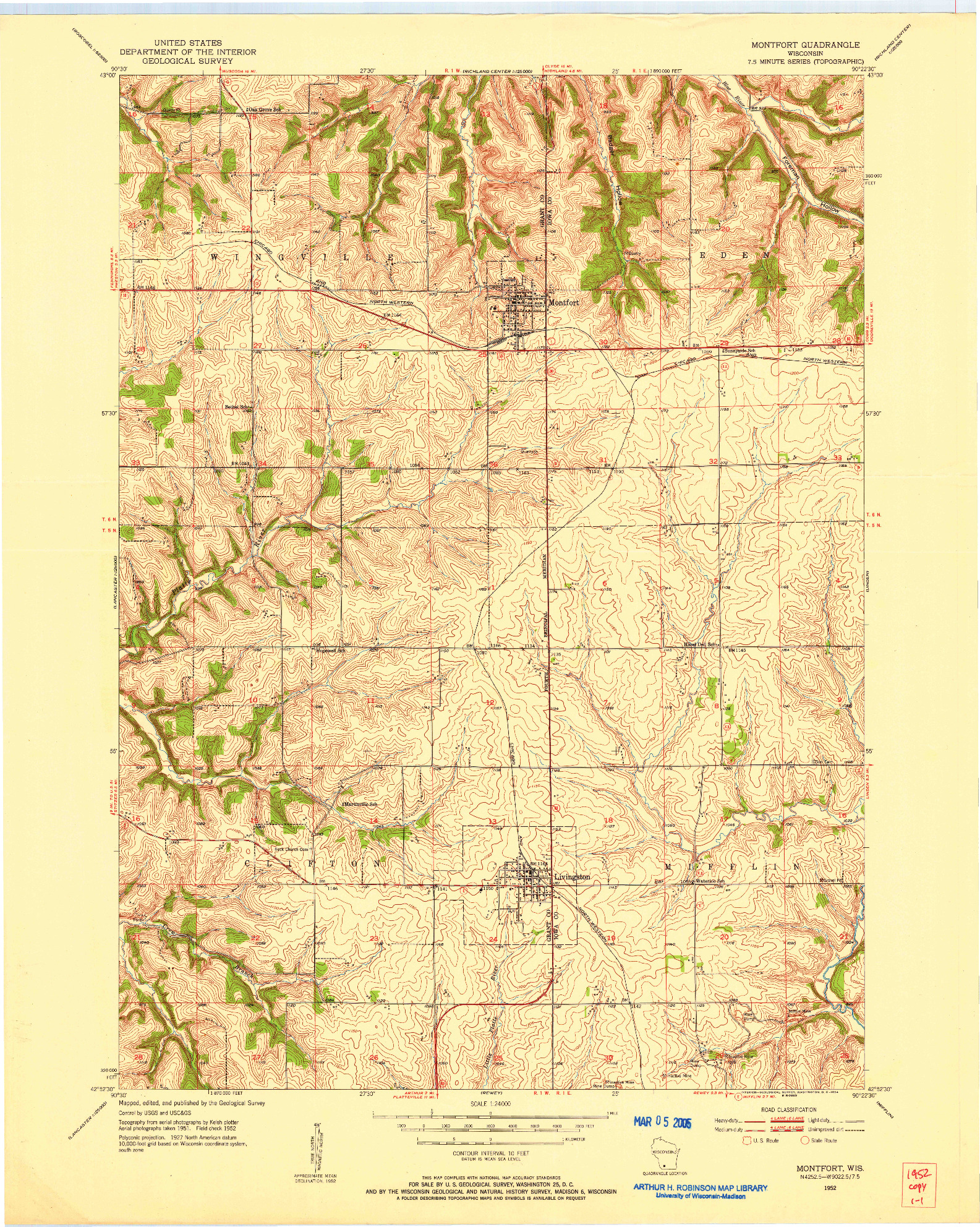USGS 1:24000-SCALE QUADRANGLE FOR MONTFORT, WI 1952