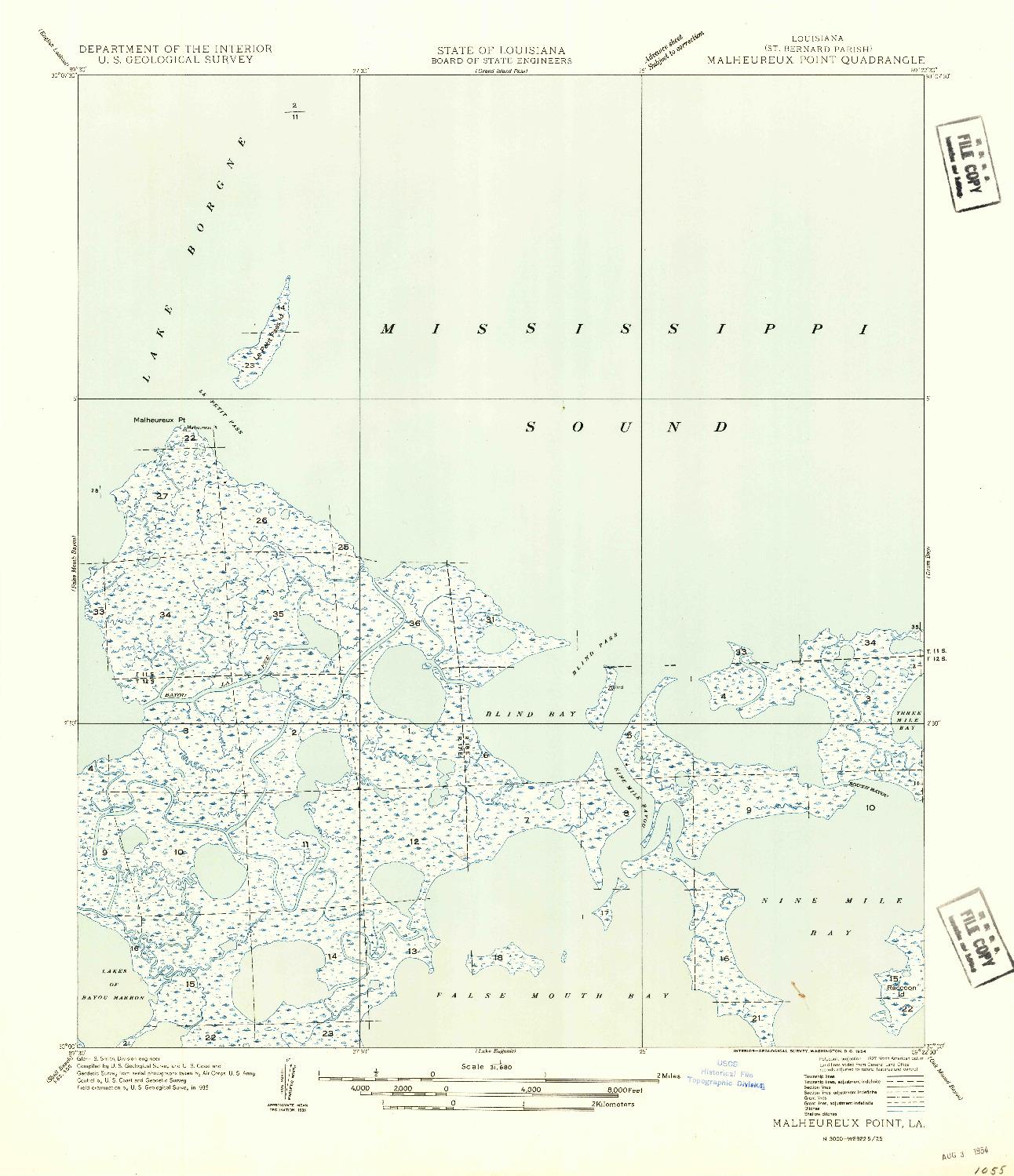 USGS 1:31680-SCALE QUADRANGLE FOR MALHEUREUX POINT, LA 1954
