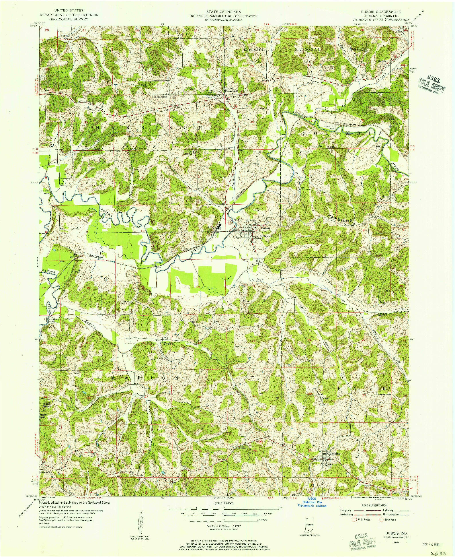 USGS 1:24000-SCALE QUADRANGLE FOR DUBOIS, IN 1954