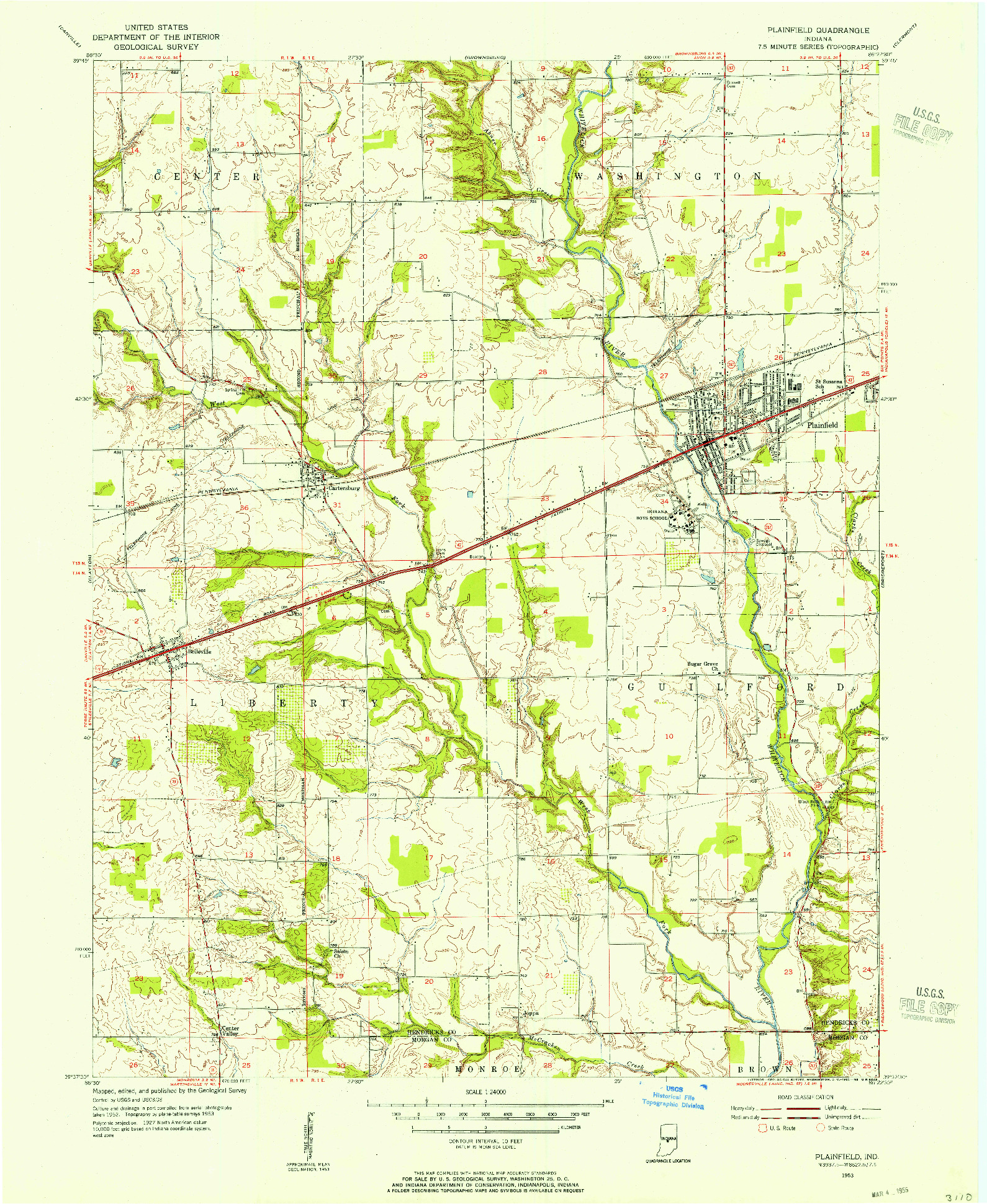 USGS 1:24000-SCALE QUADRANGLE FOR PLAINFIELD, IN 1953