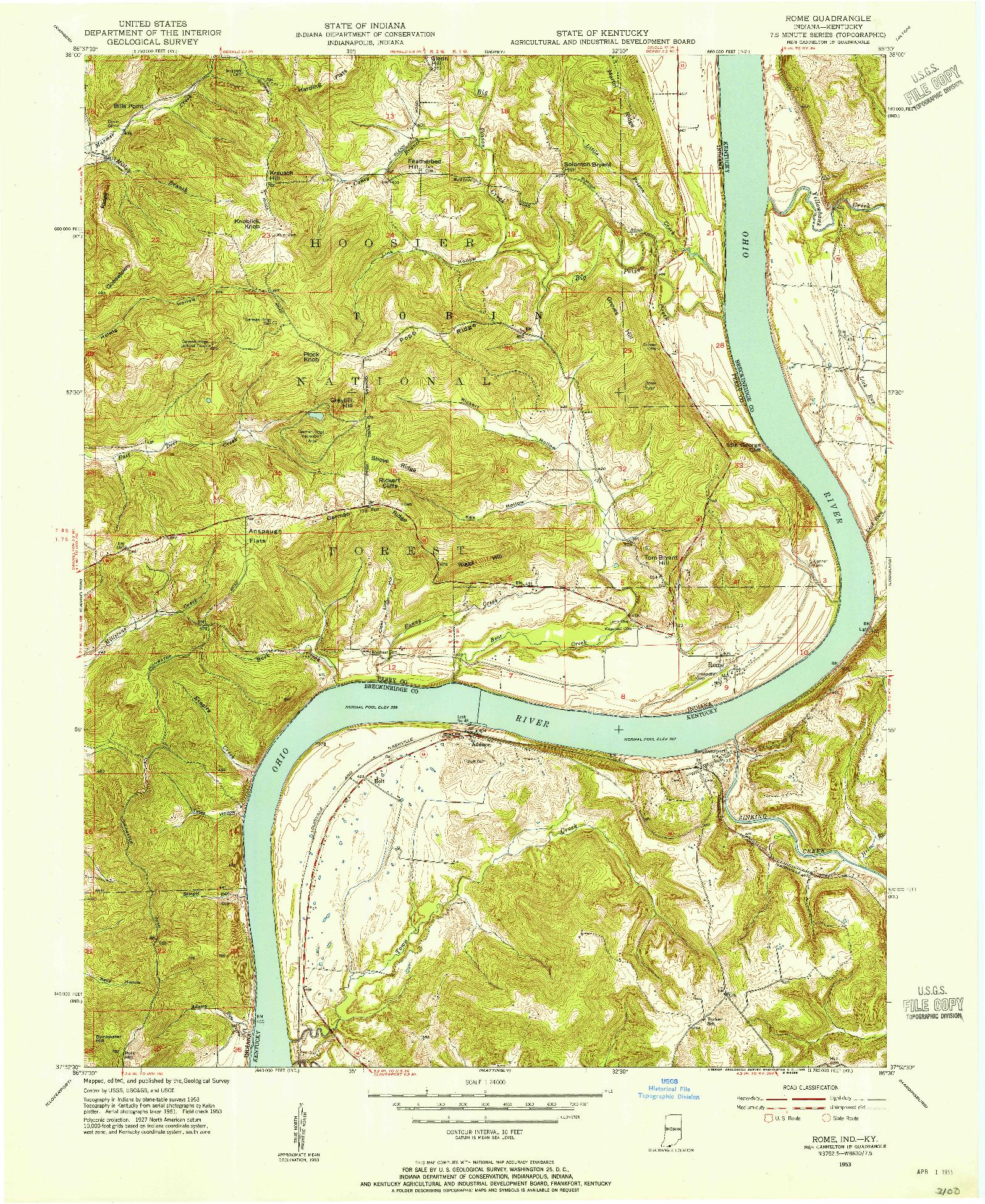 USGS 1:24000-SCALE QUADRANGLE FOR ROME, IN 1953