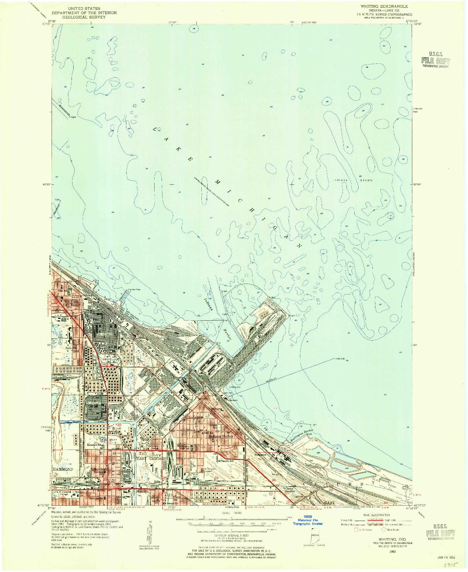 USGS 1:24000-SCALE QUADRANGLE FOR WHITING, IN 1953