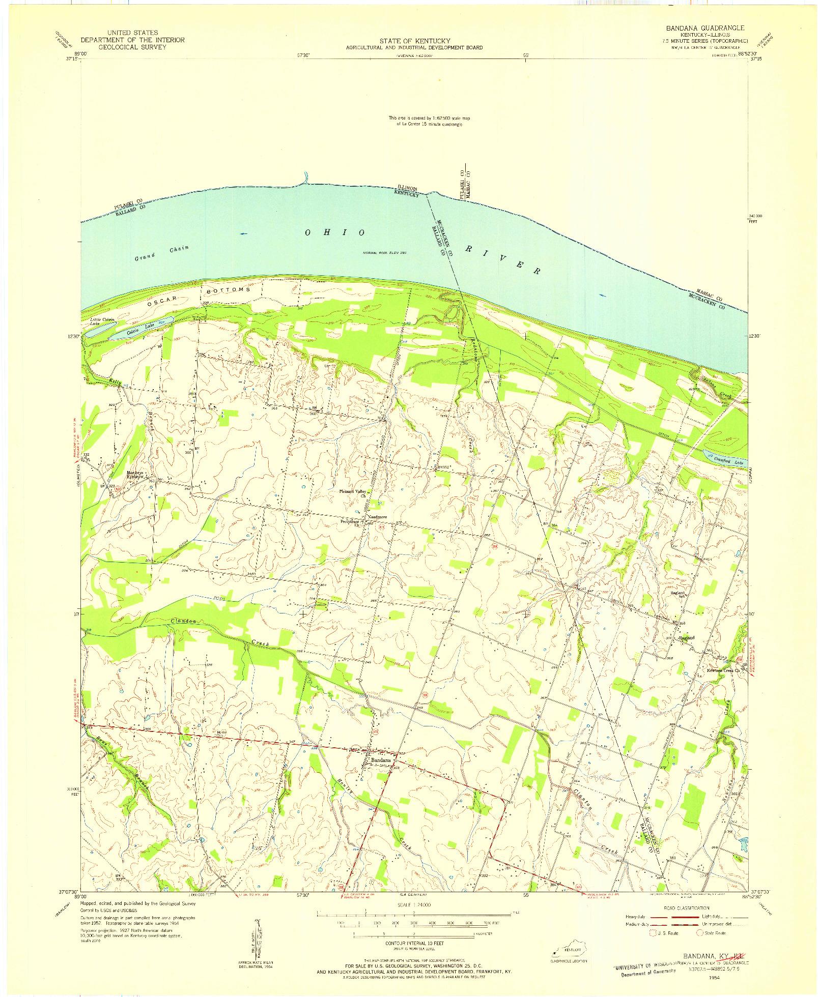 USGS 1:24000-SCALE QUADRANGLE FOR BANDANA, KY 1954