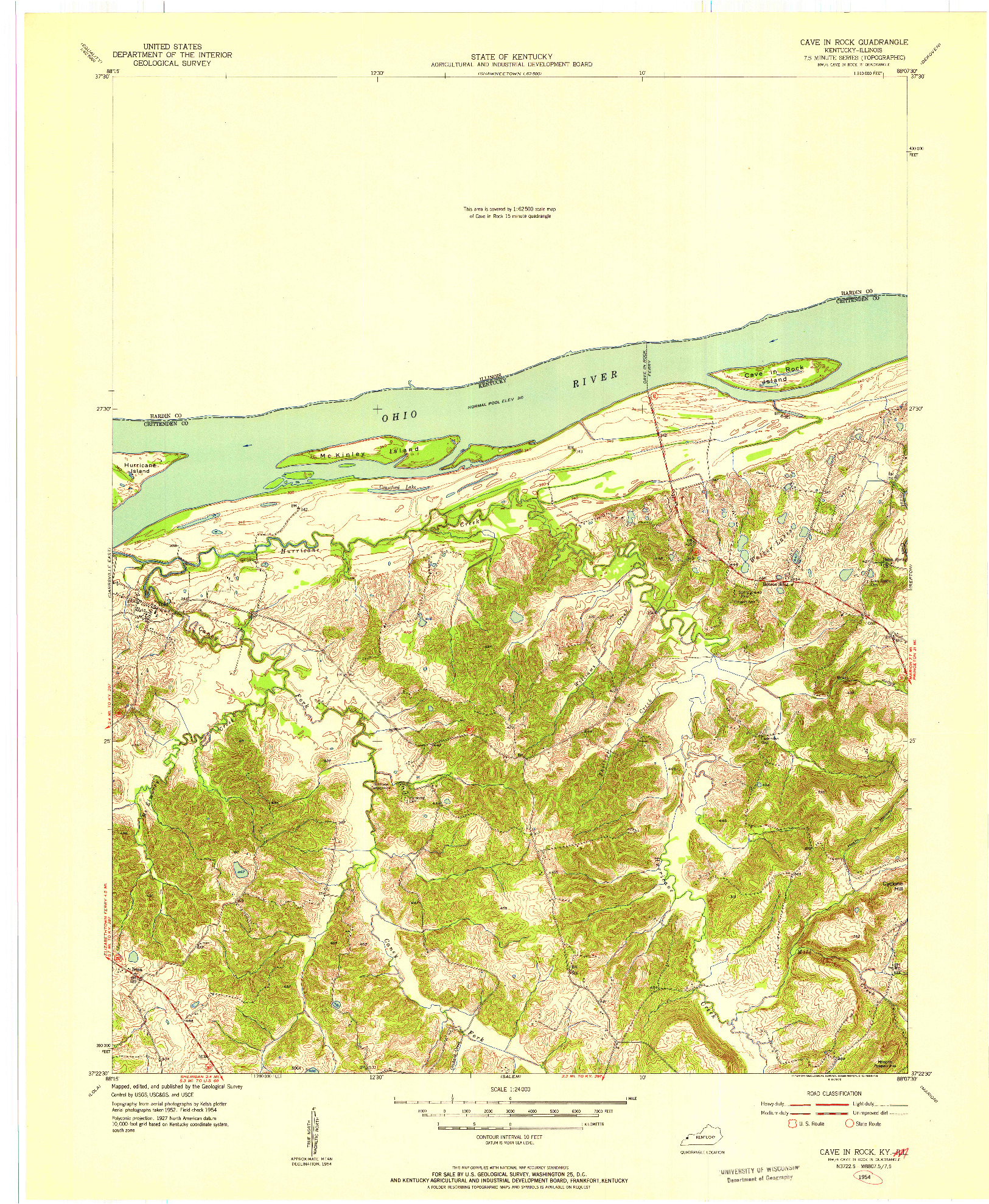 USGS 1:24000-SCALE QUADRANGLE FOR CAVE IN ROCK, KY 1954