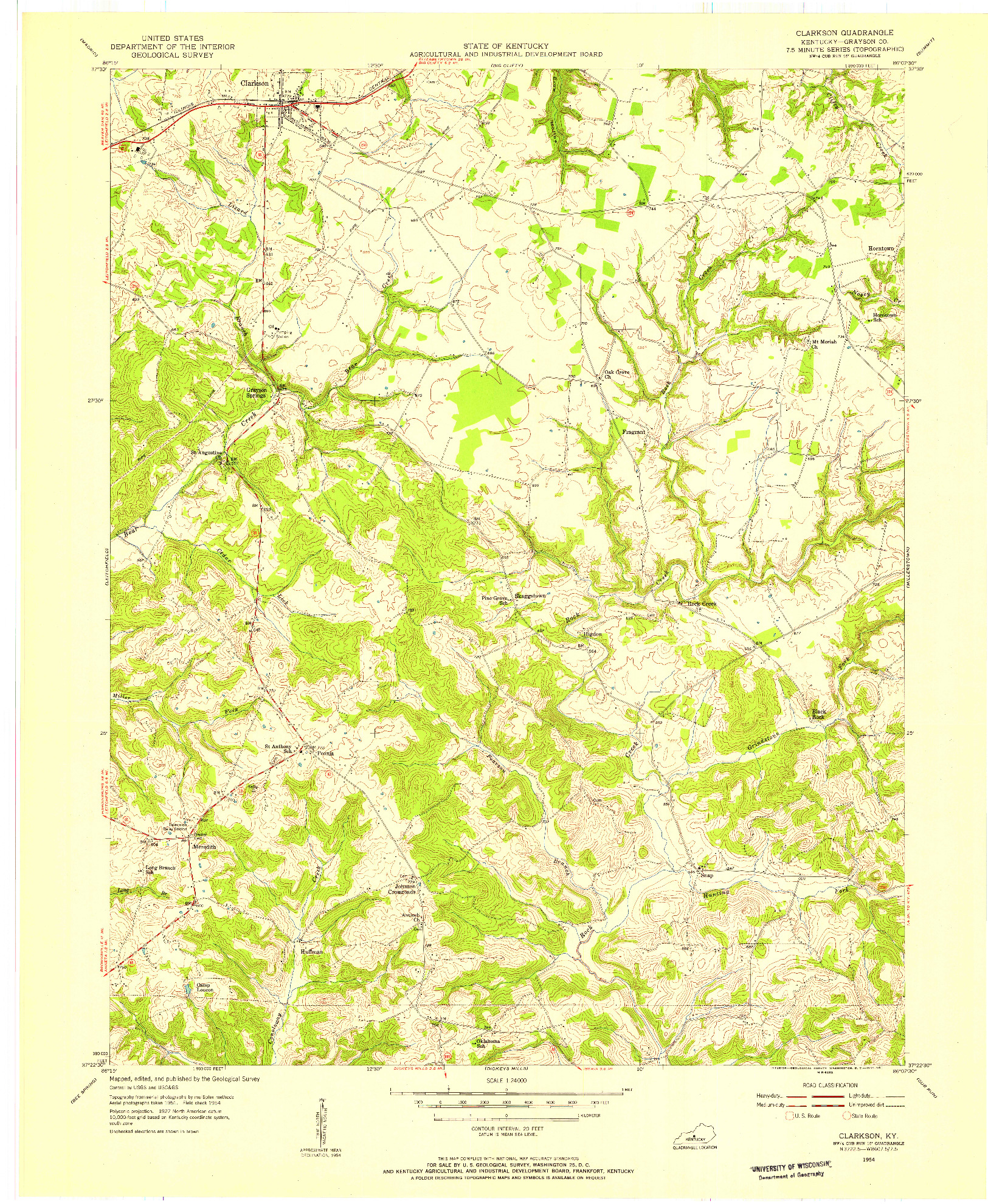 USGS 1:24000-SCALE QUADRANGLE FOR CLARKSON, KY 1954