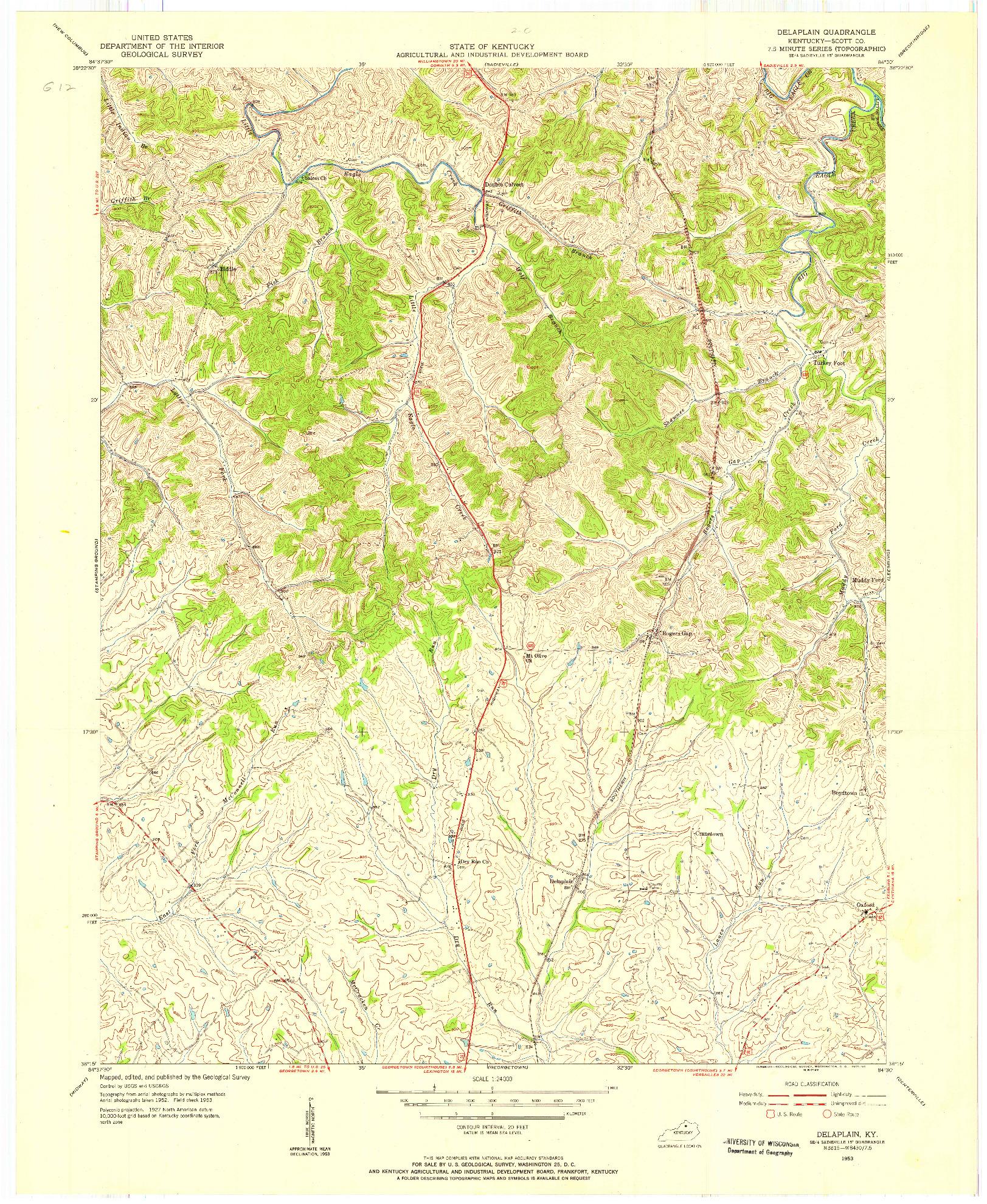 USGS 1:24000-SCALE QUADRANGLE FOR DELAPLAIN, KY 1953