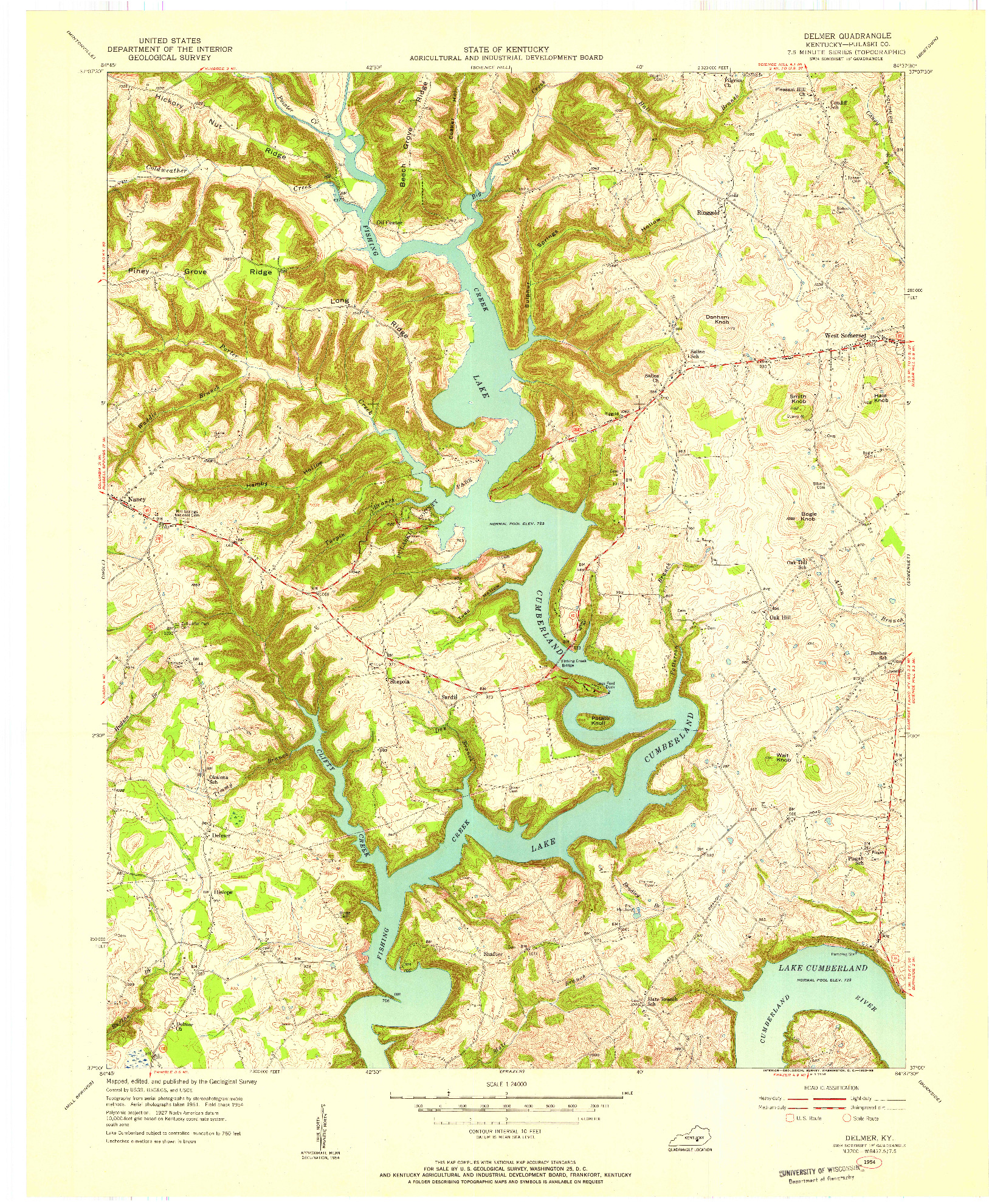 USGS 1:24000-SCALE QUADRANGLE FOR DELMER, KY 1954