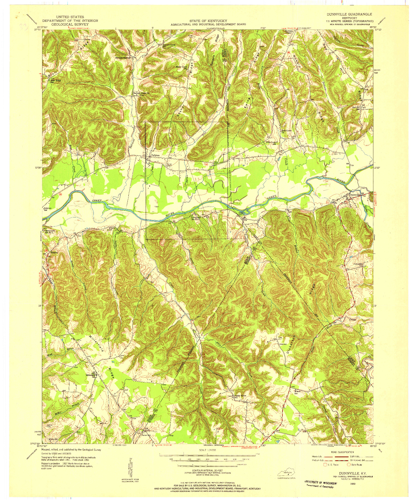 USGS 1:24000-SCALE QUADRANGLE FOR DUNNVILLE, KY 1953
