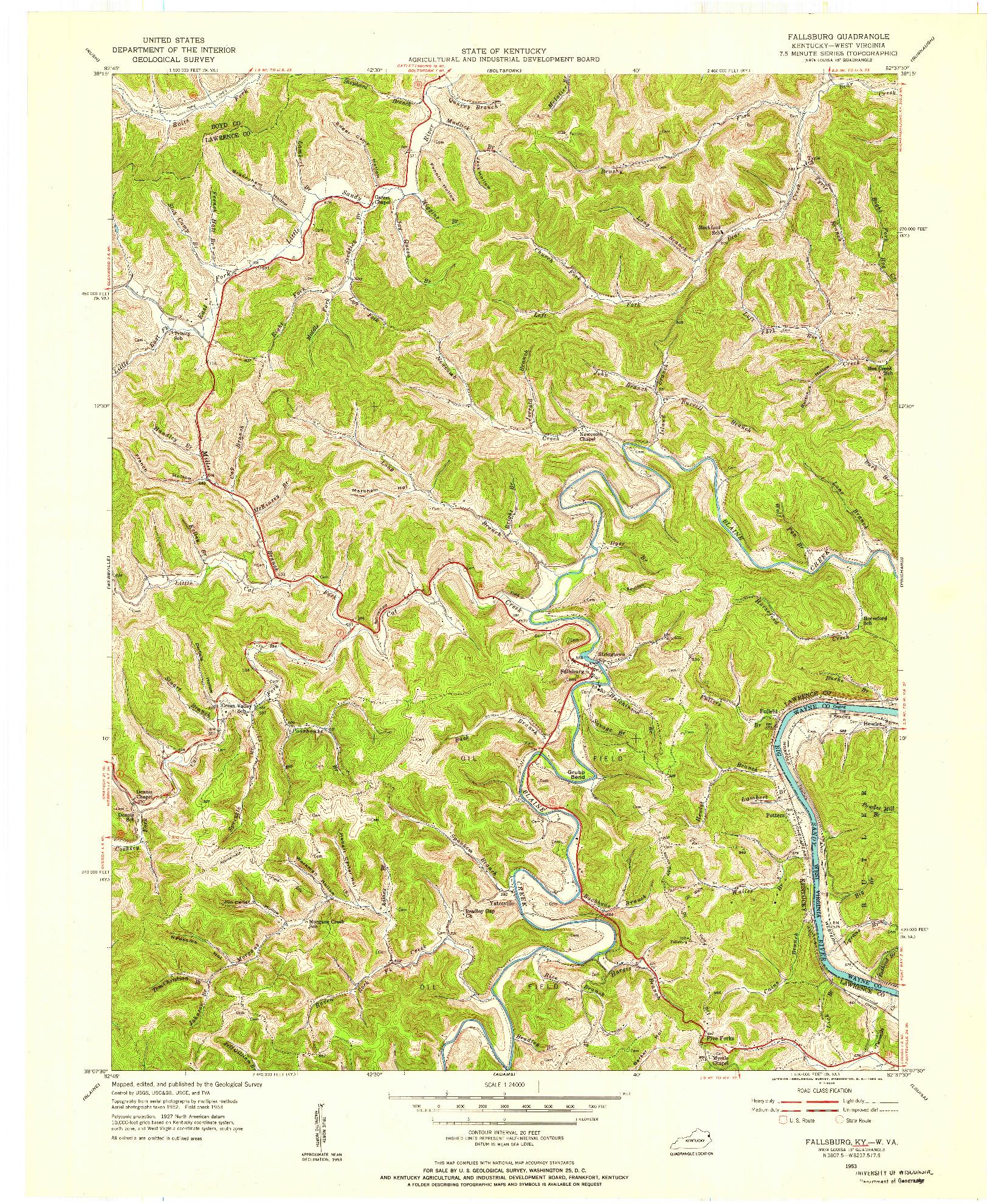 USGS 1:24000-SCALE QUADRANGLE FOR FALLSBURG, KY 1953