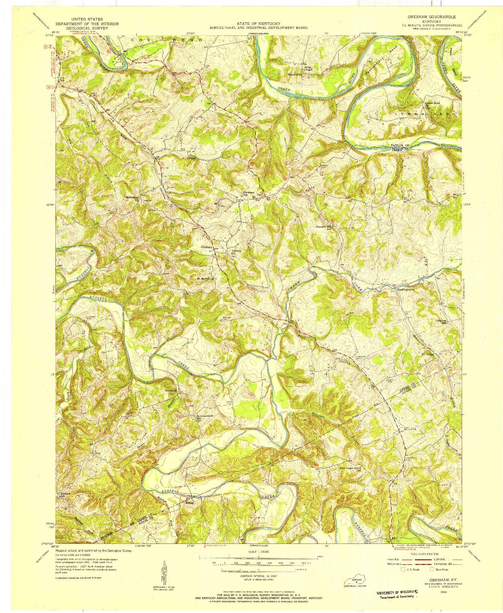 USGS 1:24000-SCALE QUADRANGLE FOR GRESHAM, KY 1953