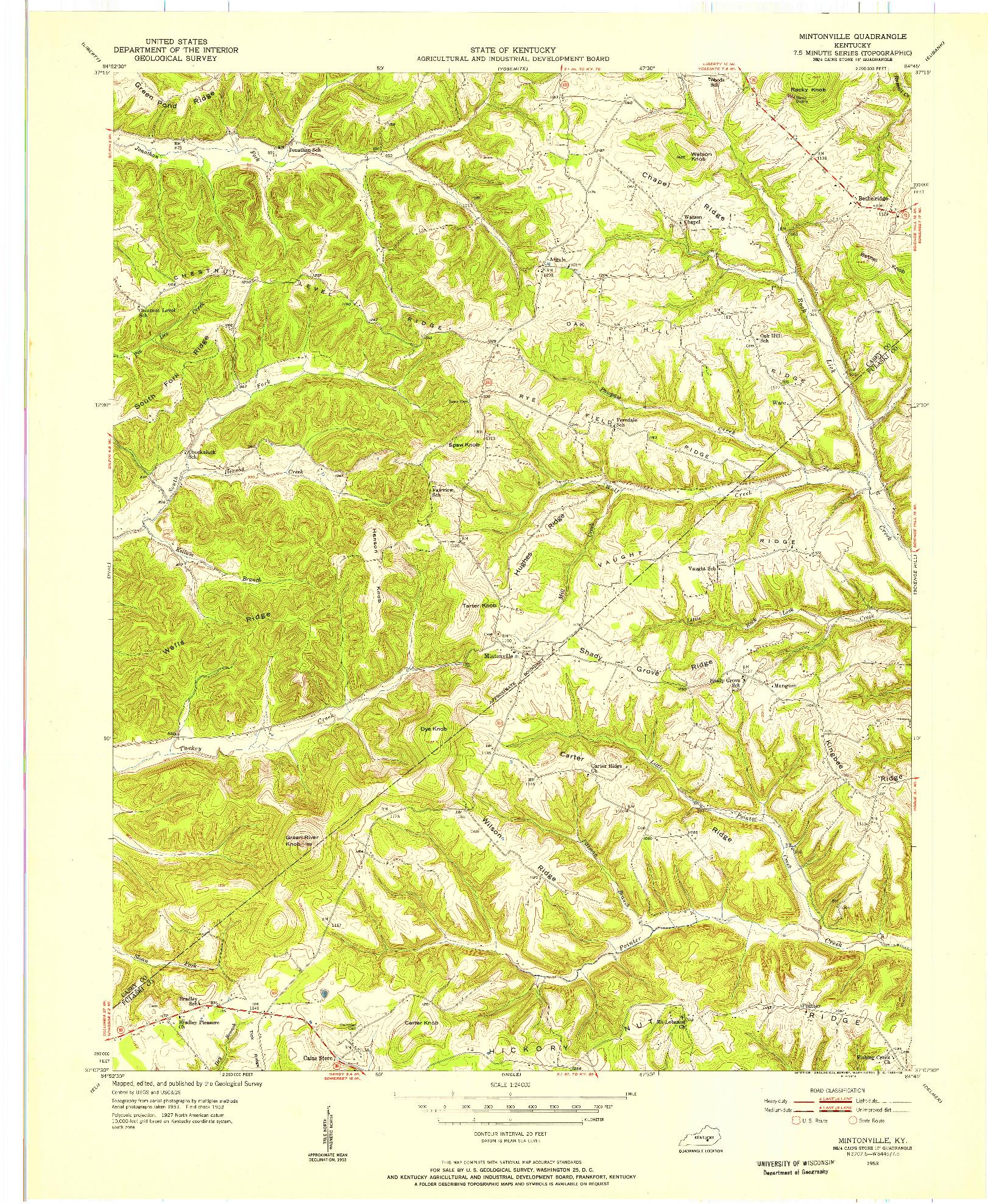 USGS 1:24000-SCALE QUADRANGLE FOR MINTONVILLE, KY 1953