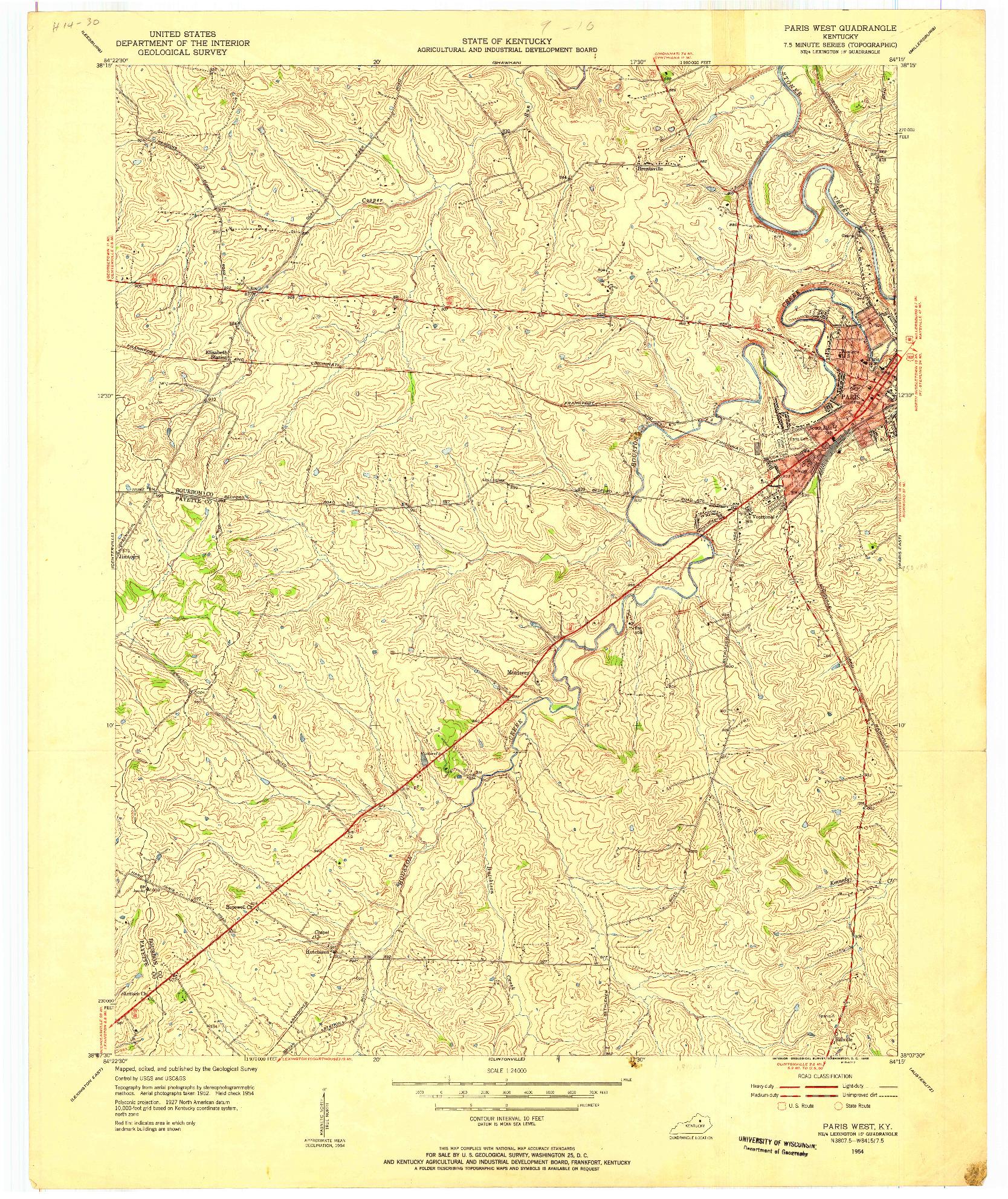 USGS 1:24000-SCALE QUADRANGLE FOR PARIS WEST, KY 1954