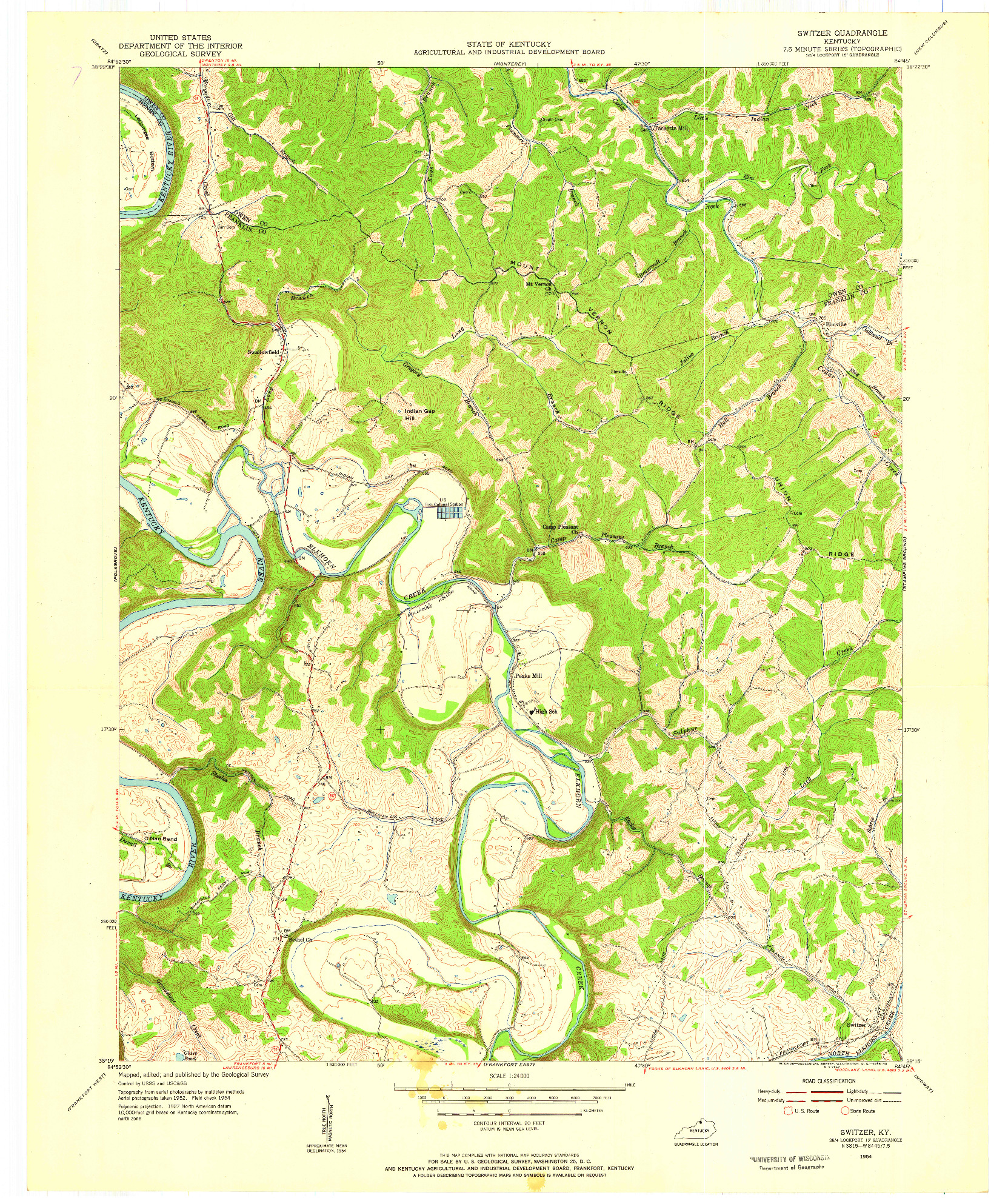 USGS 1:24000-SCALE QUADRANGLE FOR SWITZER, KY 1954
