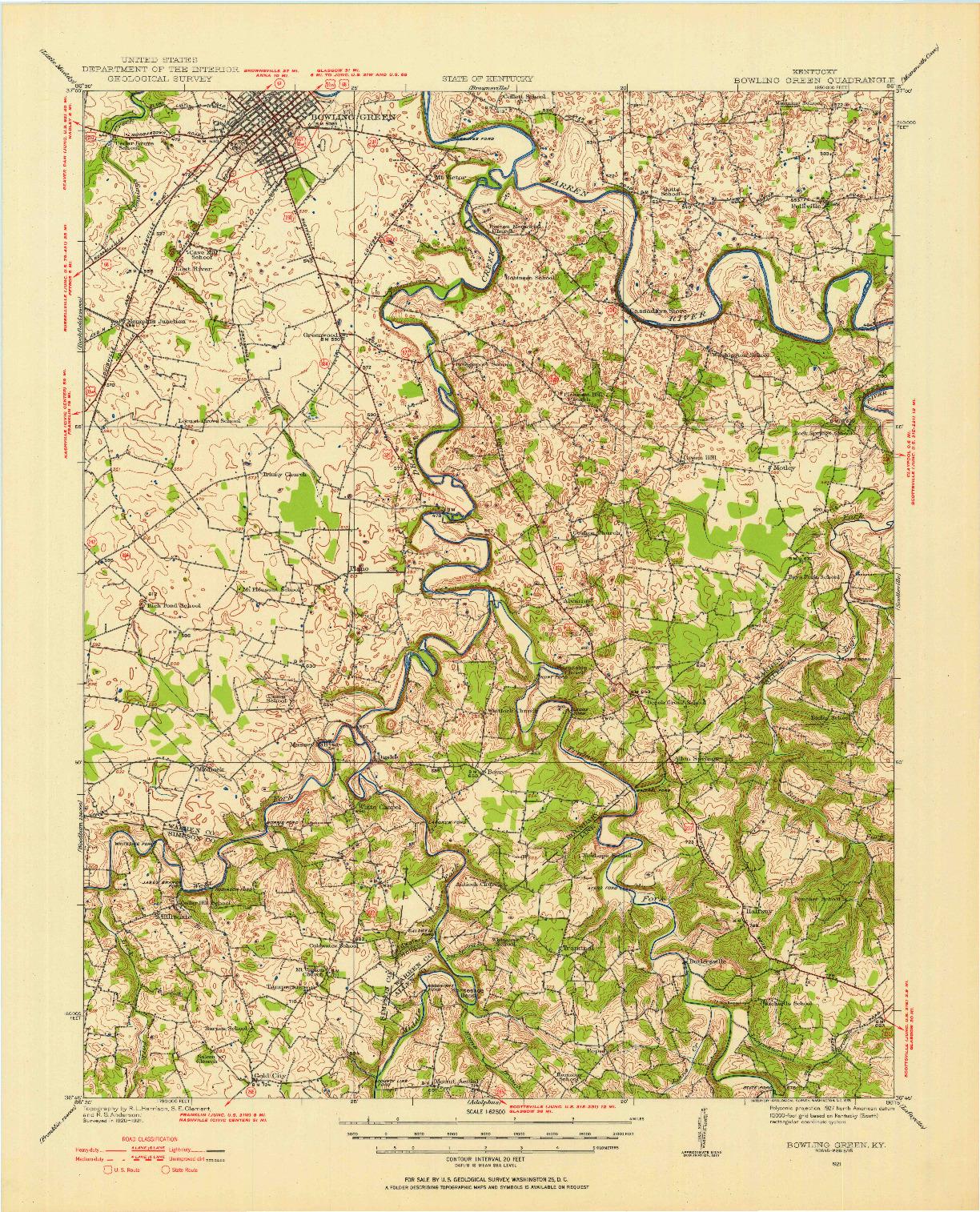 USGS 1:62500-SCALE QUADRANGLE FOR BOWLING GREEN, KY 1921
