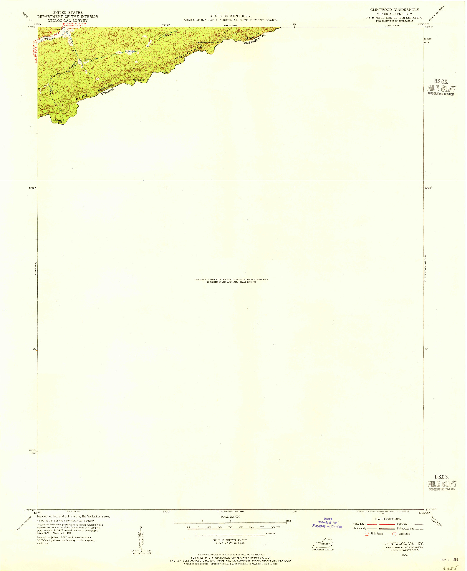 USGS 1:24000-SCALE QUADRANGLE FOR CLINTWOOD, VA 1954
