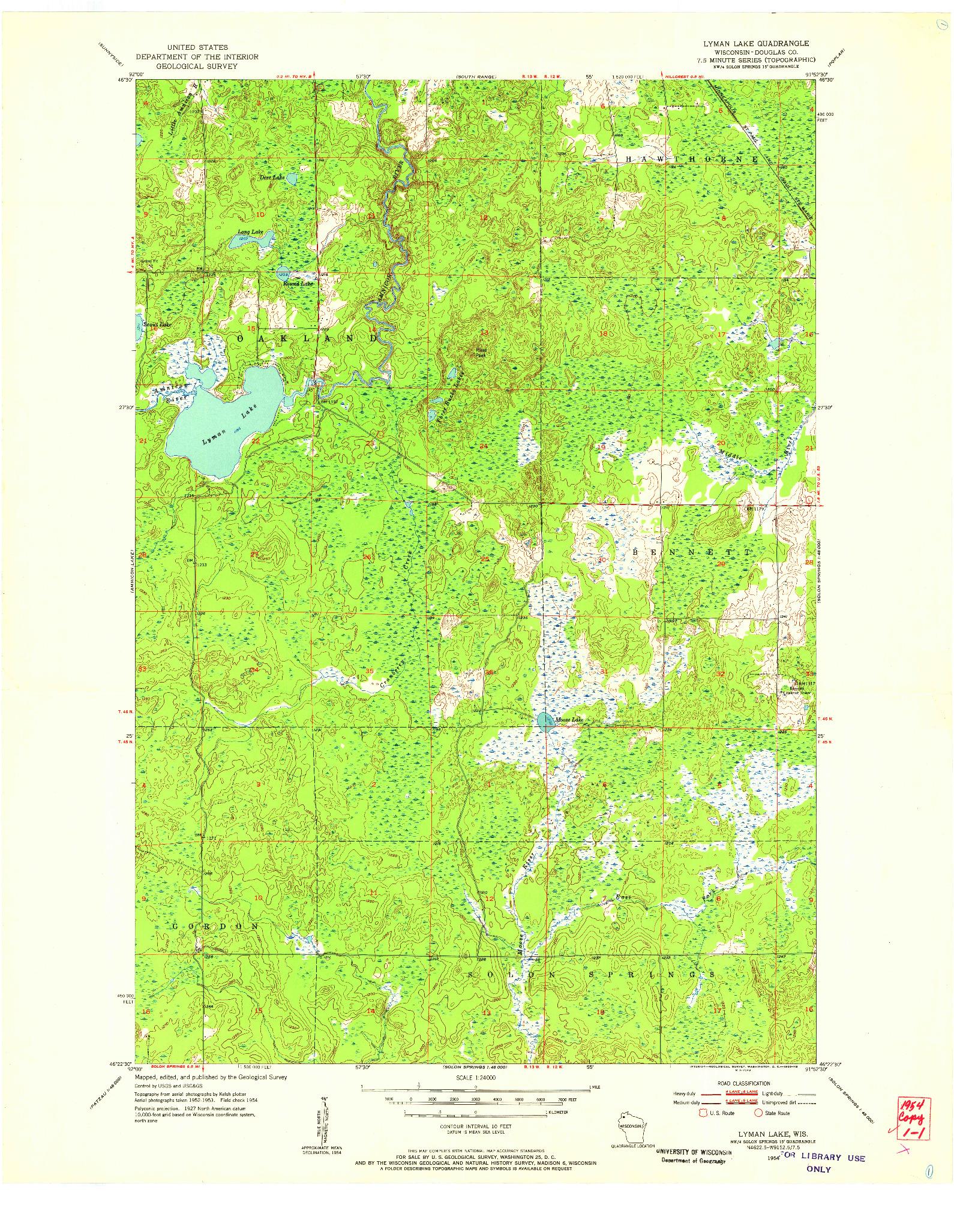 USGS 1:24000-SCALE QUADRANGLE FOR LYMAN LAKE, WI 1954