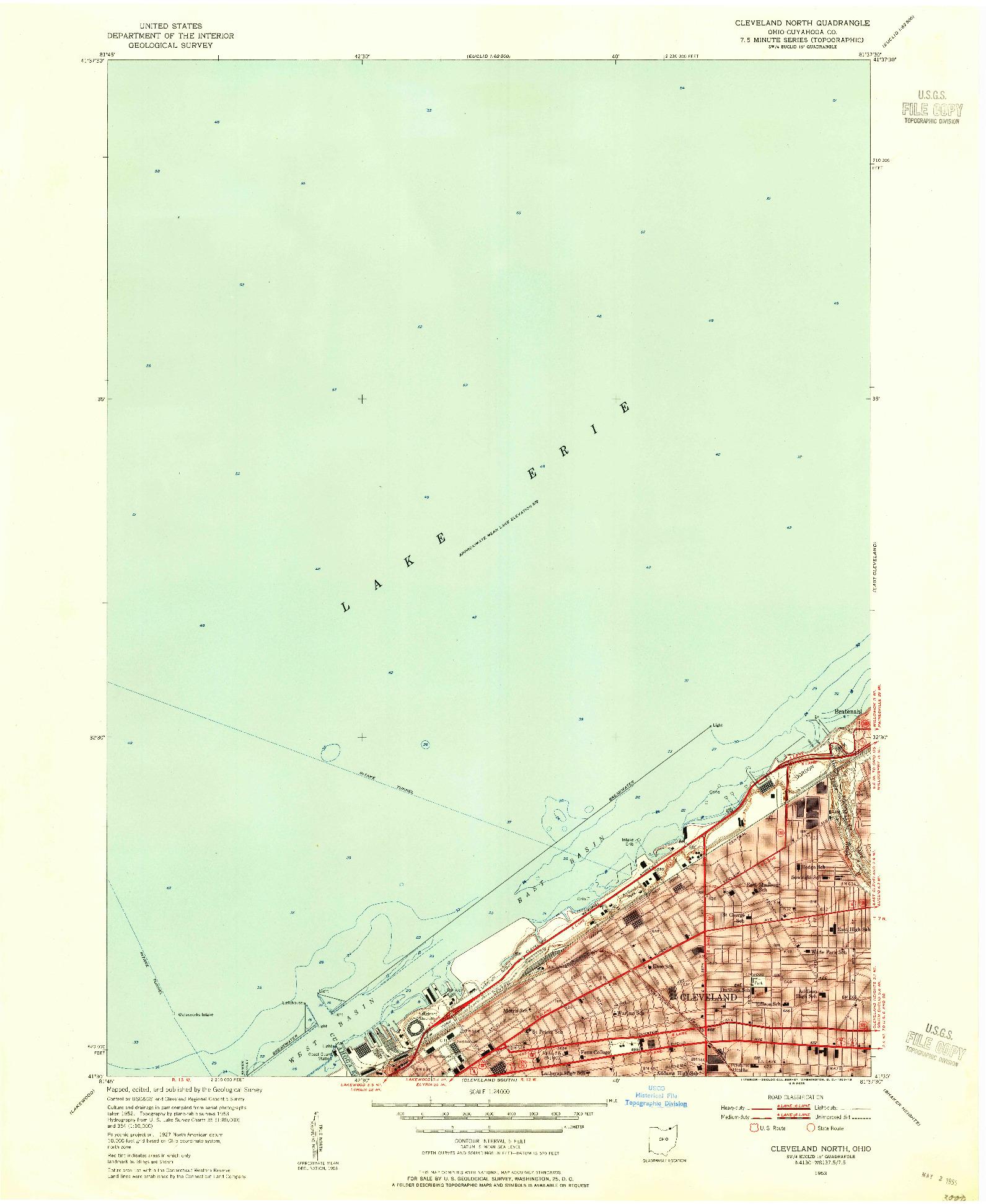 USGS 1:24000-SCALE QUADRANGLE FOR CLEVELAND NORTH, OH 1953