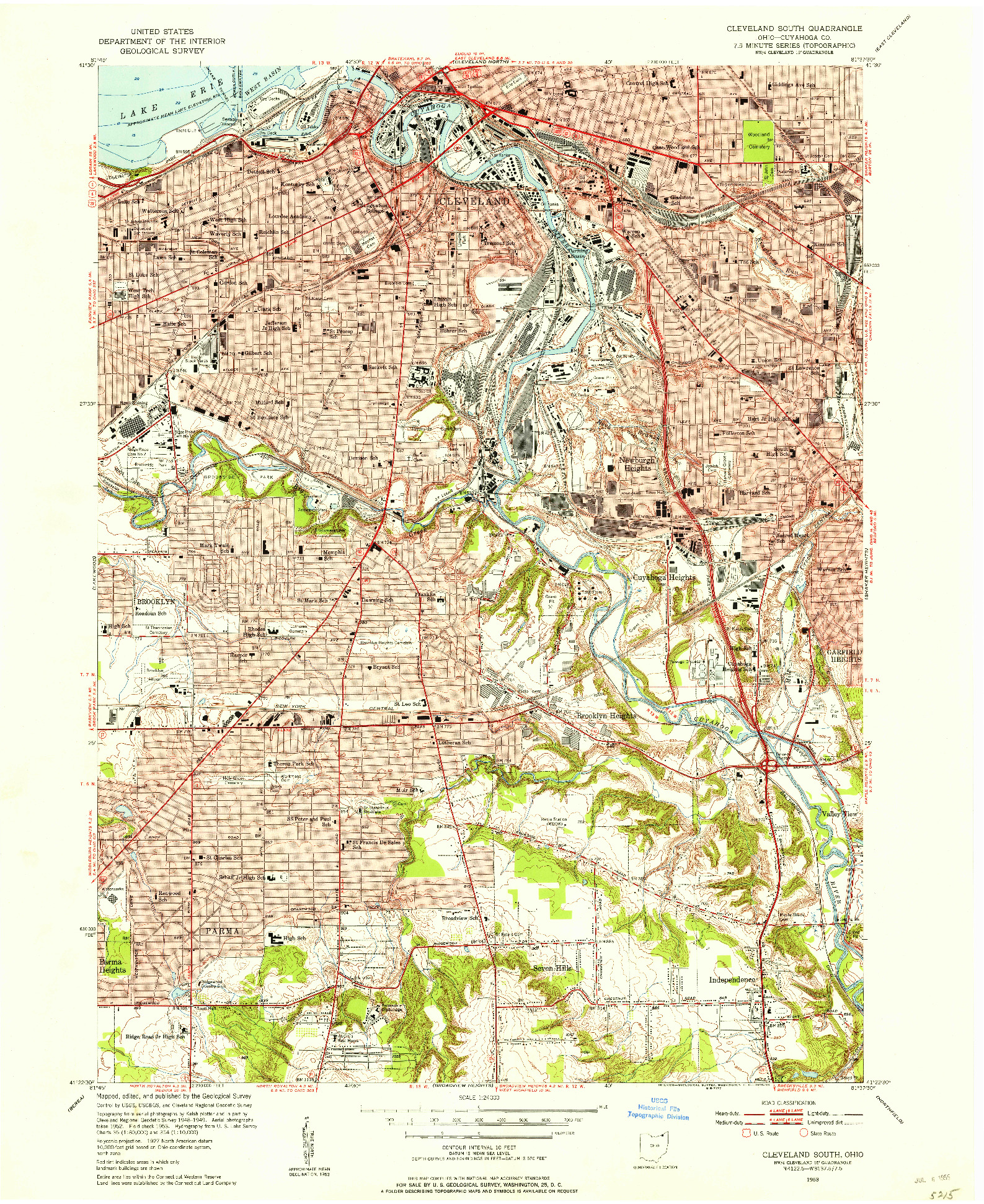 USGS 1:24000-SCALE QUADRANGLE FOR CLEVELAND SOUTH, OH 1953