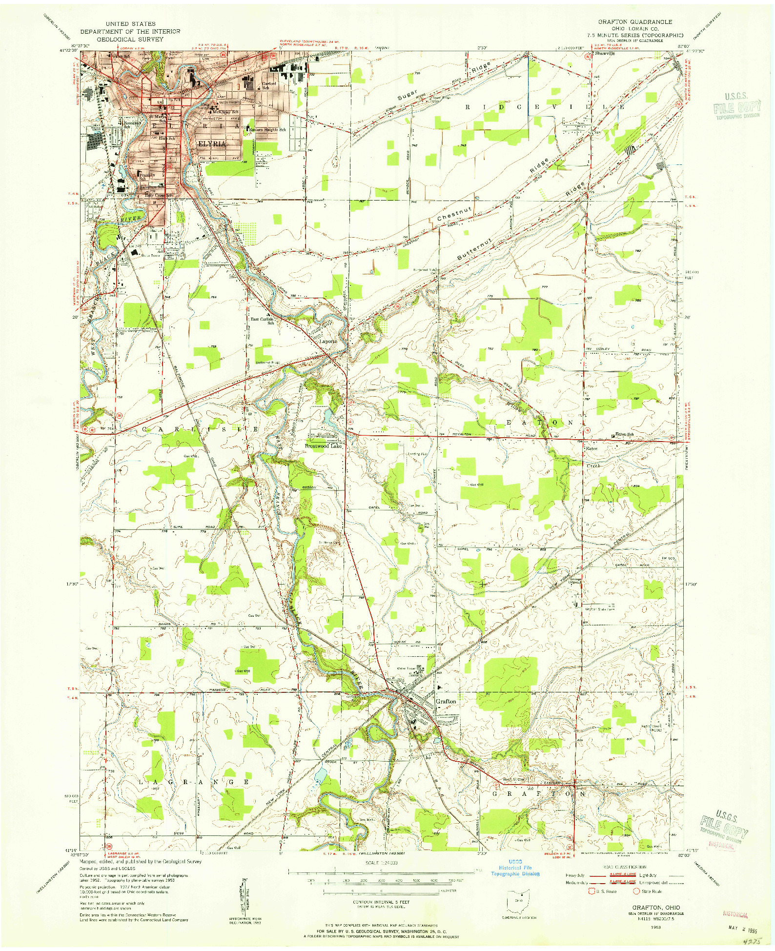 USGS 1:24000-SCALE QUADRANGLE FOR GRAFTON, OH 1953