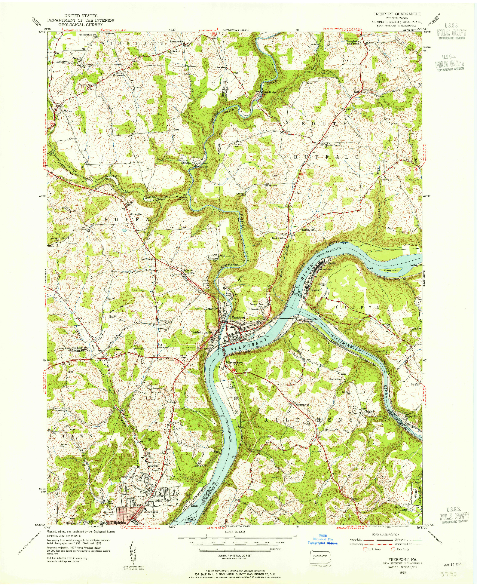 USGS 1:24000-SCALE QUADRANGLE FOR FREEPORT, PA 1953