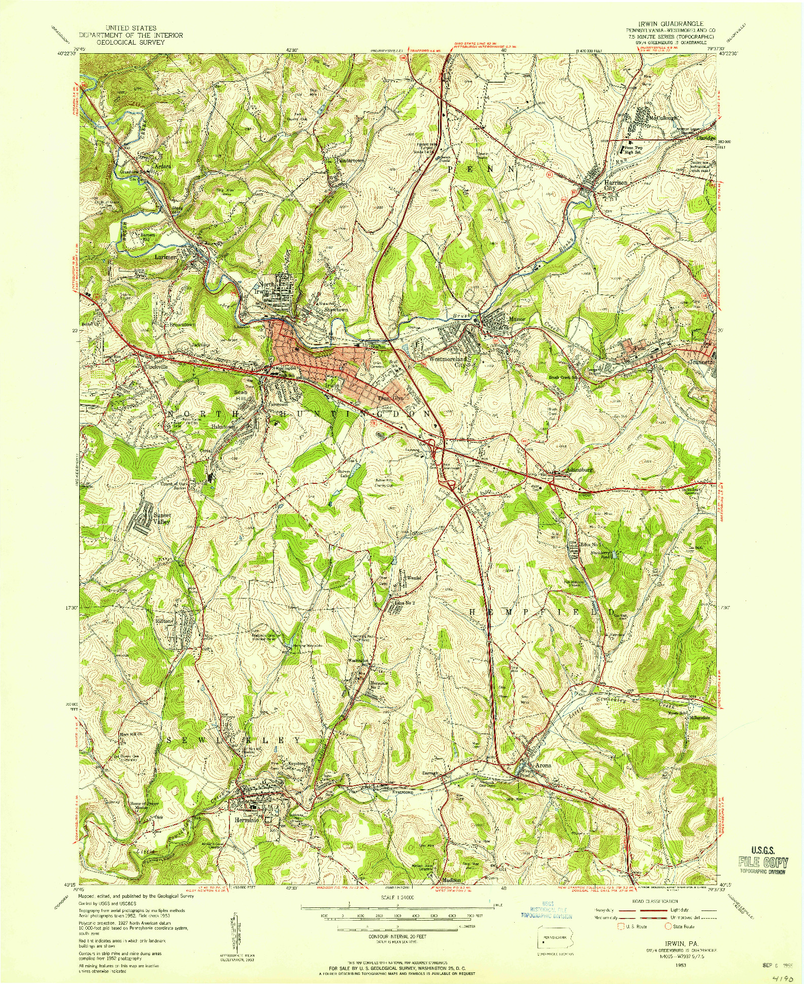 USGS 1:24000-SCALE QUADRANGLE FOR IRWIN, PA 1953