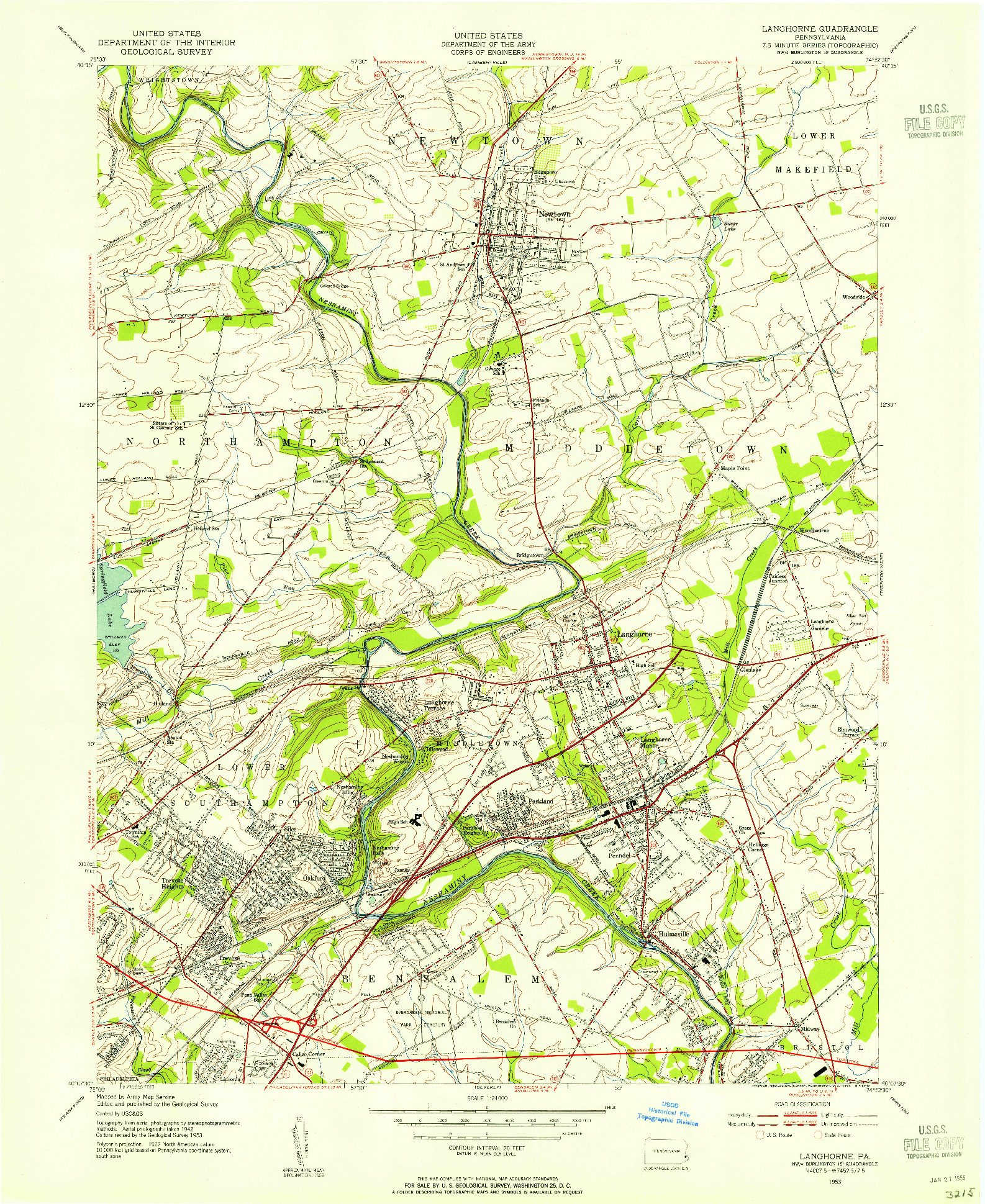 USGS 1:24000-SCALE QUADRANGLE FOR LANGHORNE, PA 1953