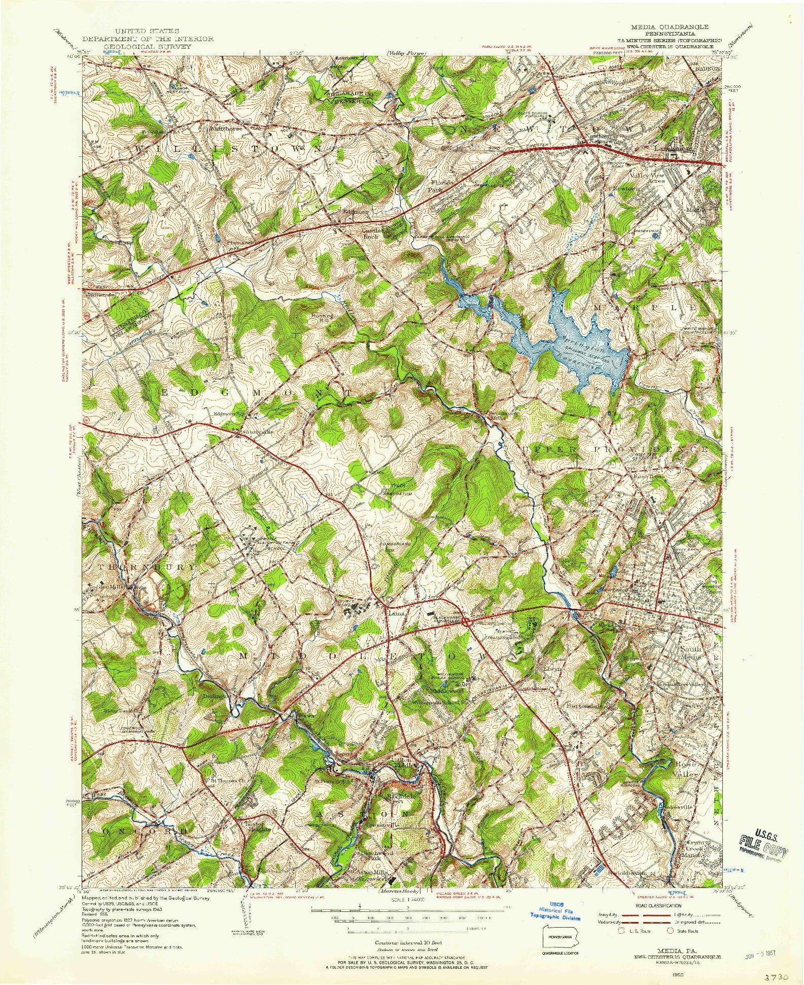 USGS 1:24000-SCALE QUADRANGLE FOR MEDIA, PA 1955
