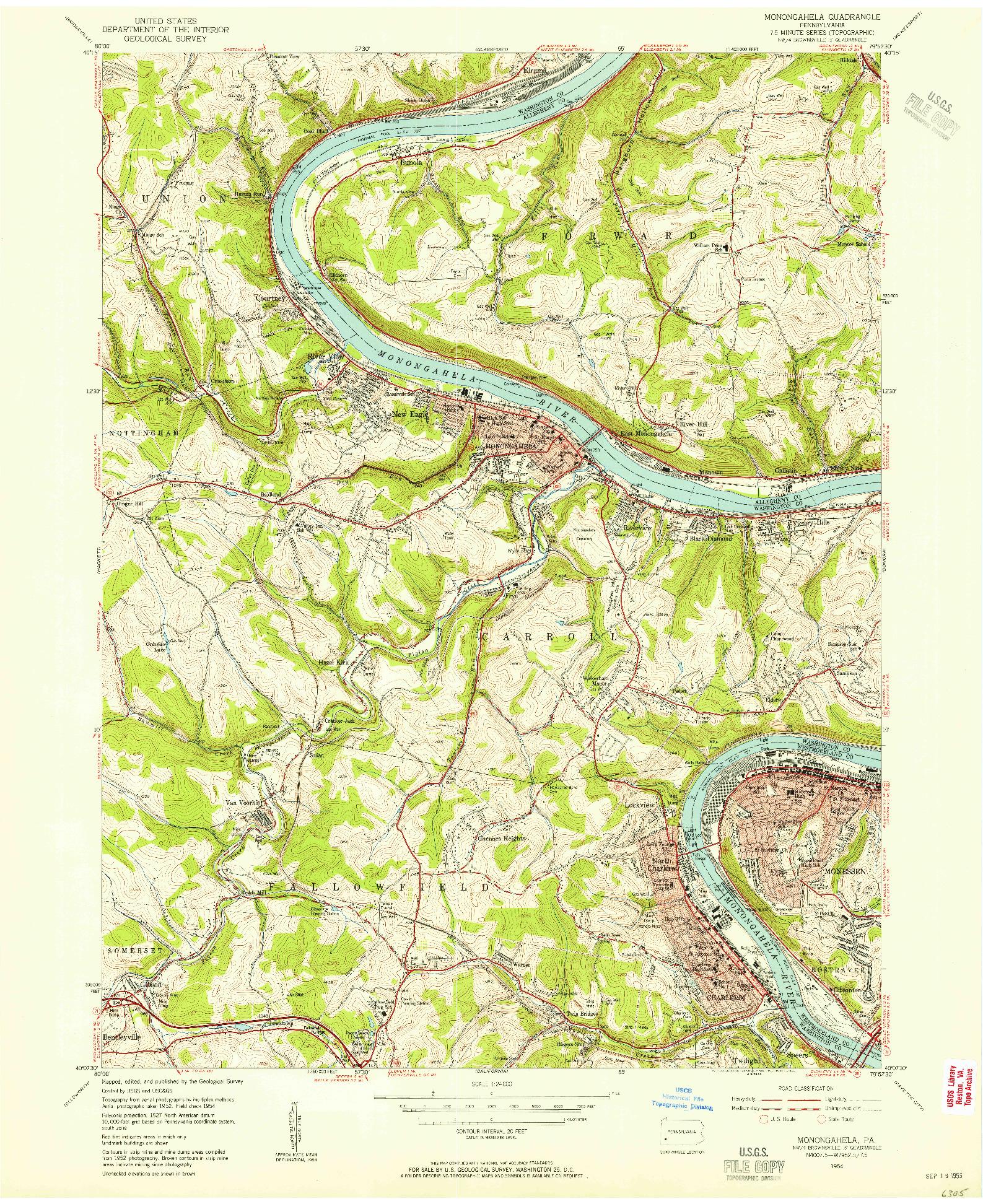 USGS 1:24000-SCALE QUADRANGLE FOR MONONGAHELA, PA 1954