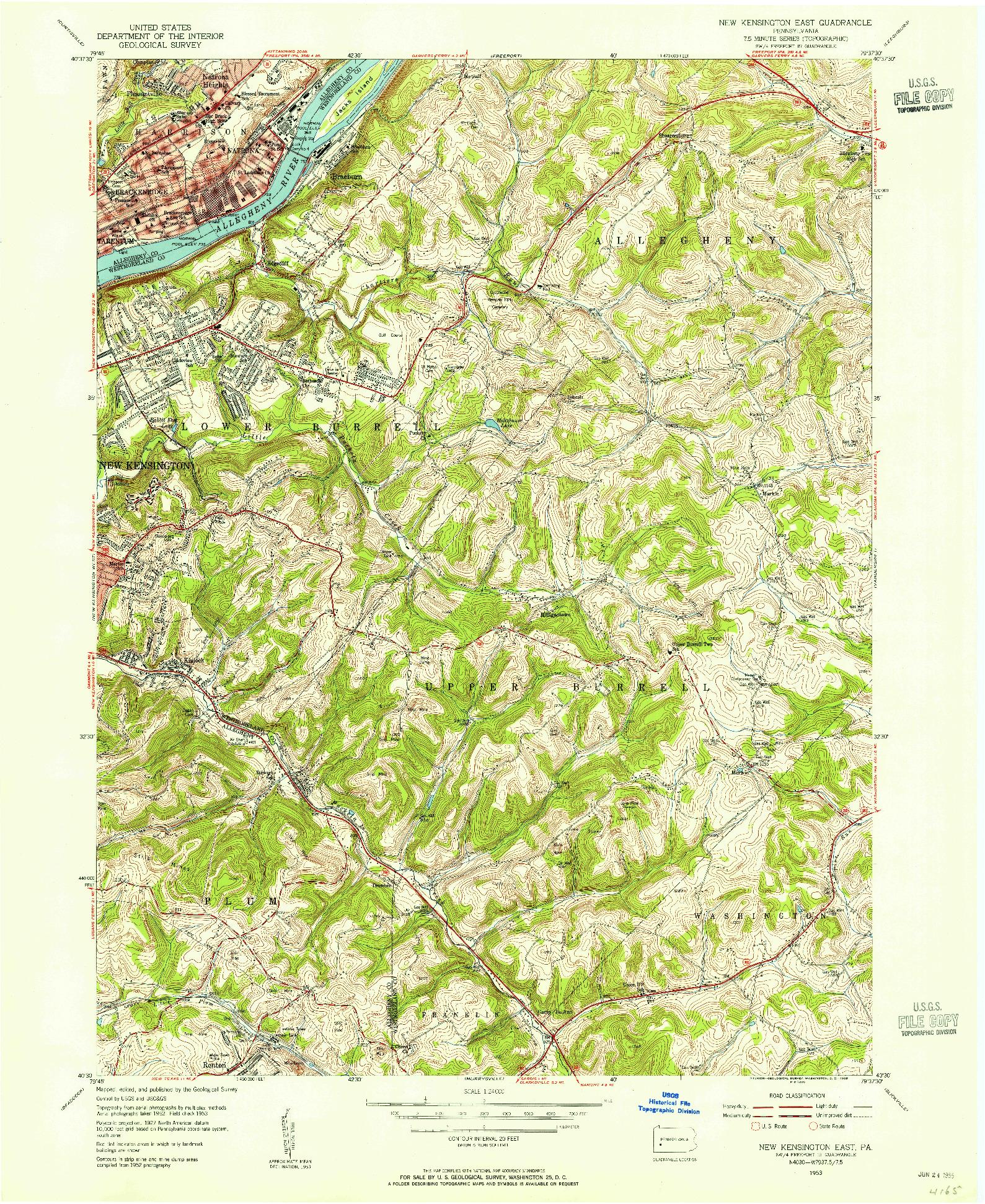 USGS 1:24000-SCALE QUADRANGLE FOR NEW KENSINGTON EAST, PA 1953