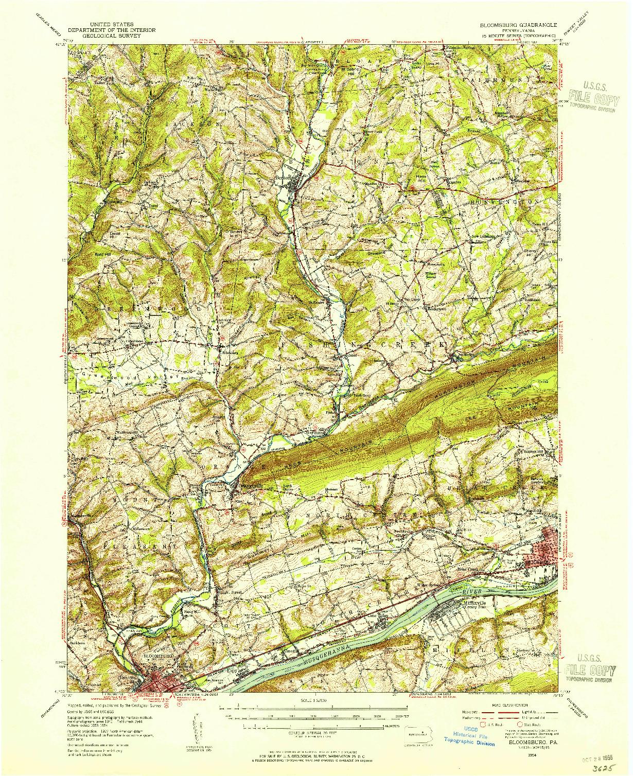 USGS 1:62500-SCALE QUADRANGLE FOR BLOOMSBURG, PA 1954