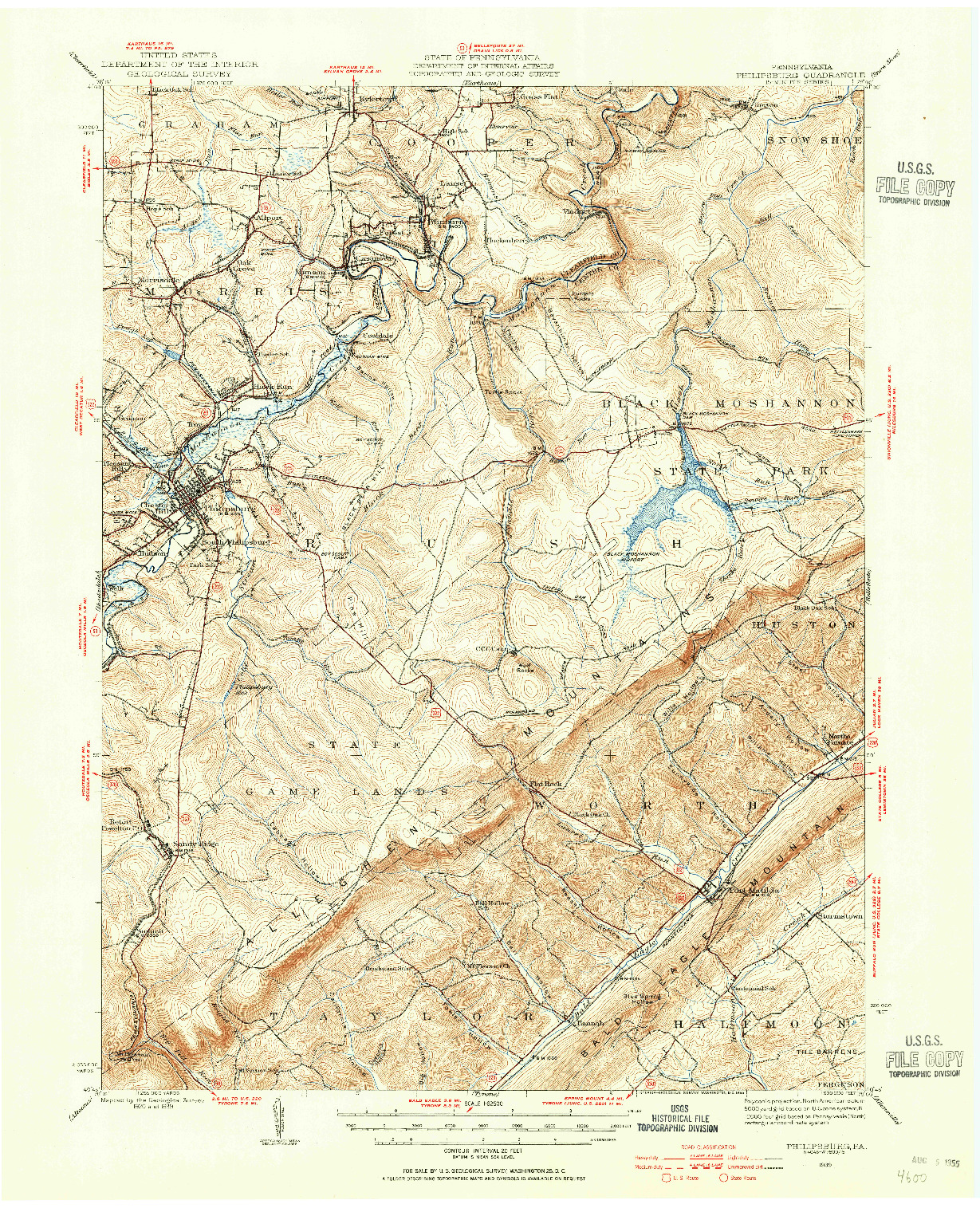 USGS 1:62500-SCALE QUADRANGLE FOR PHILIPSBURG, PA 1939